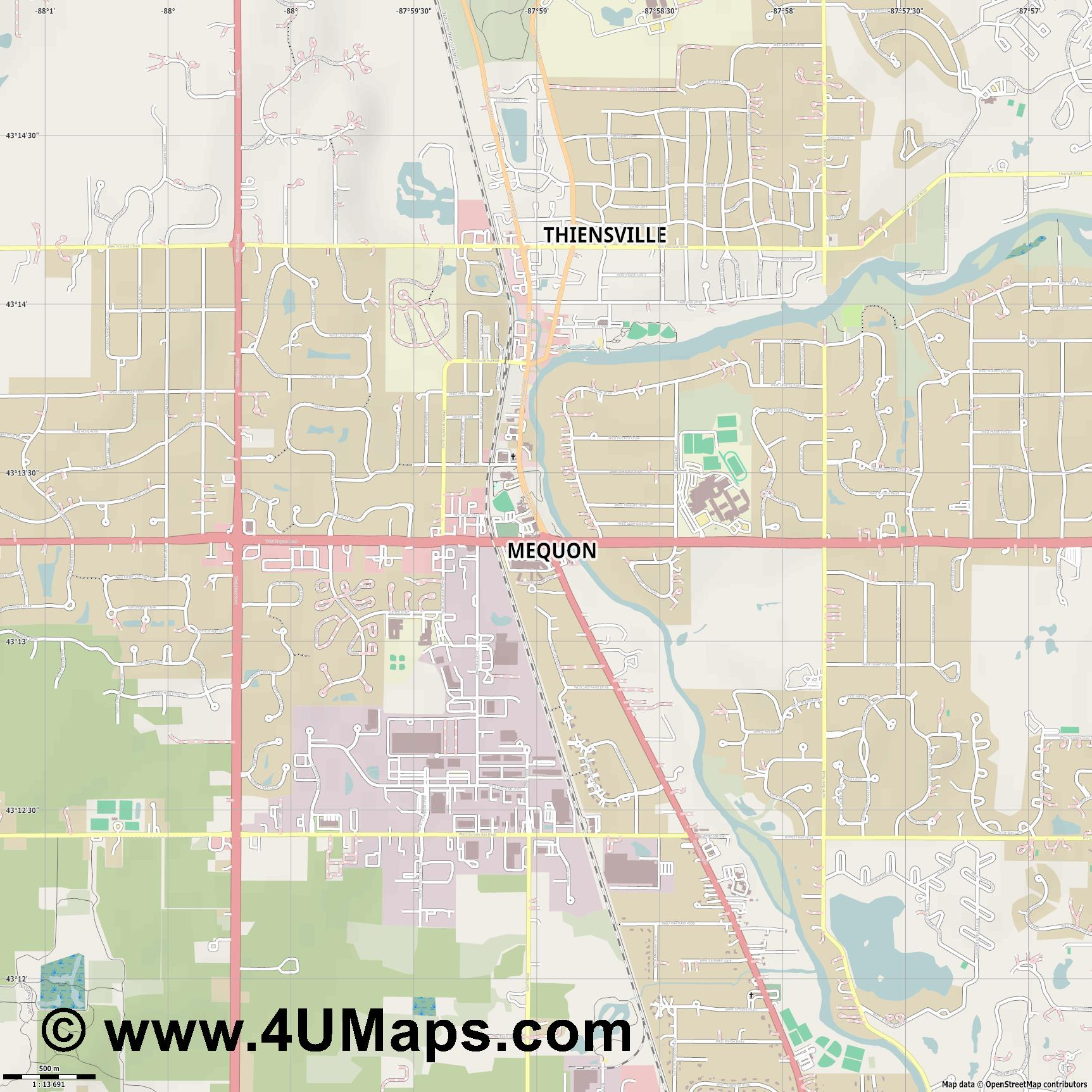 Mequon  jpg ultra high detail preview vector city map