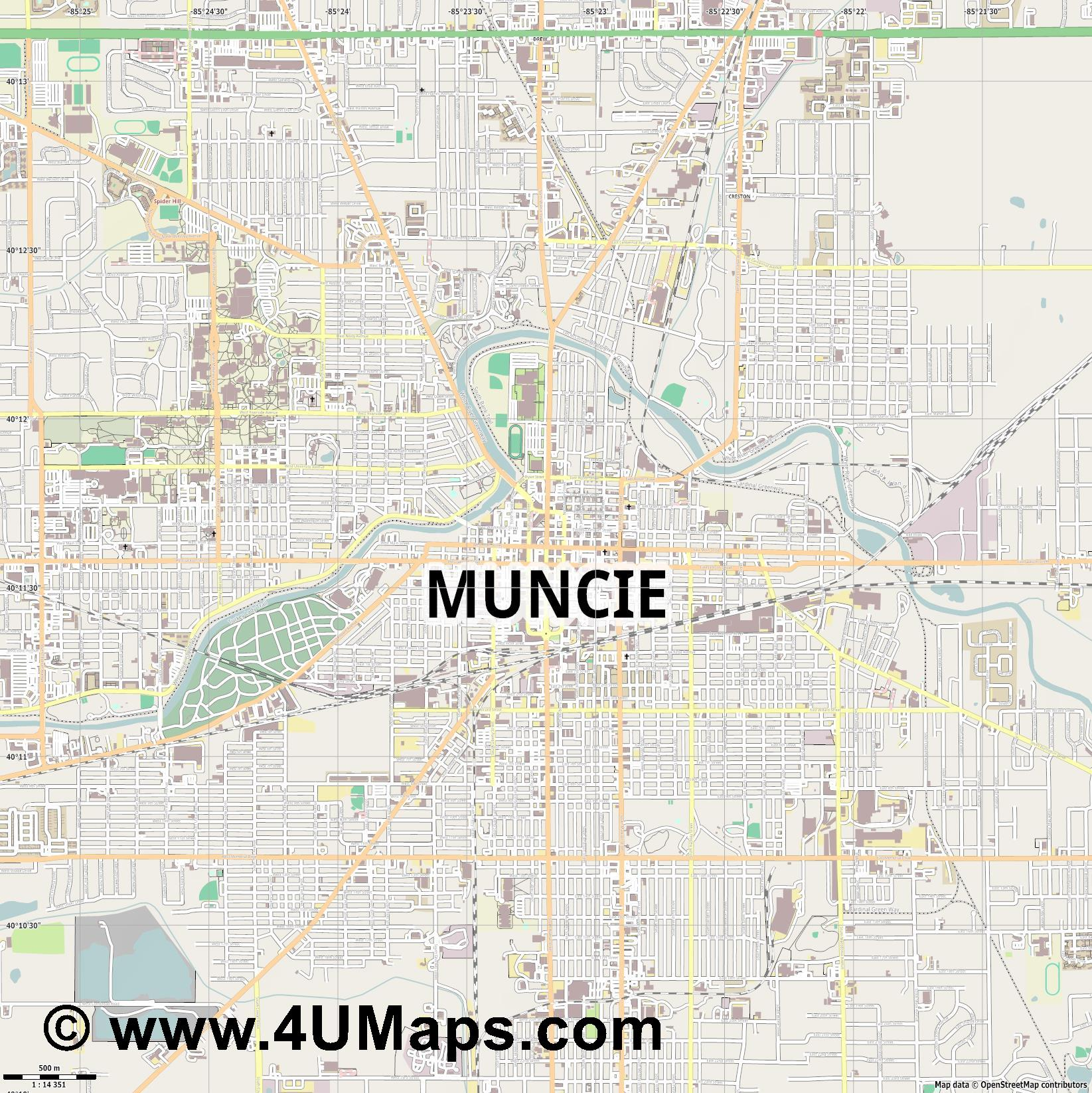Muncie  jpg ultra high detail preview vector city map