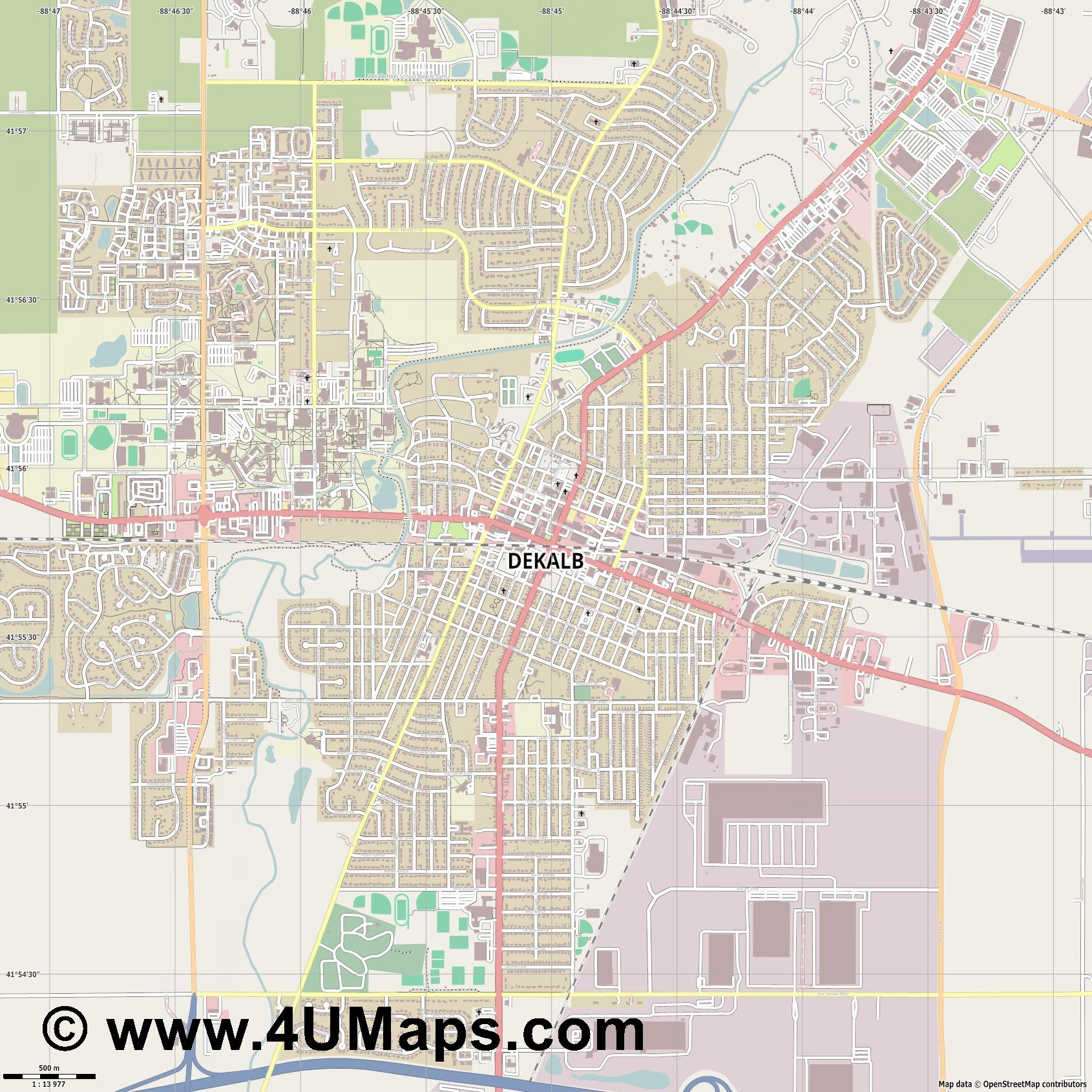 DeKalb  jpg ultra high detail preview vector city map
