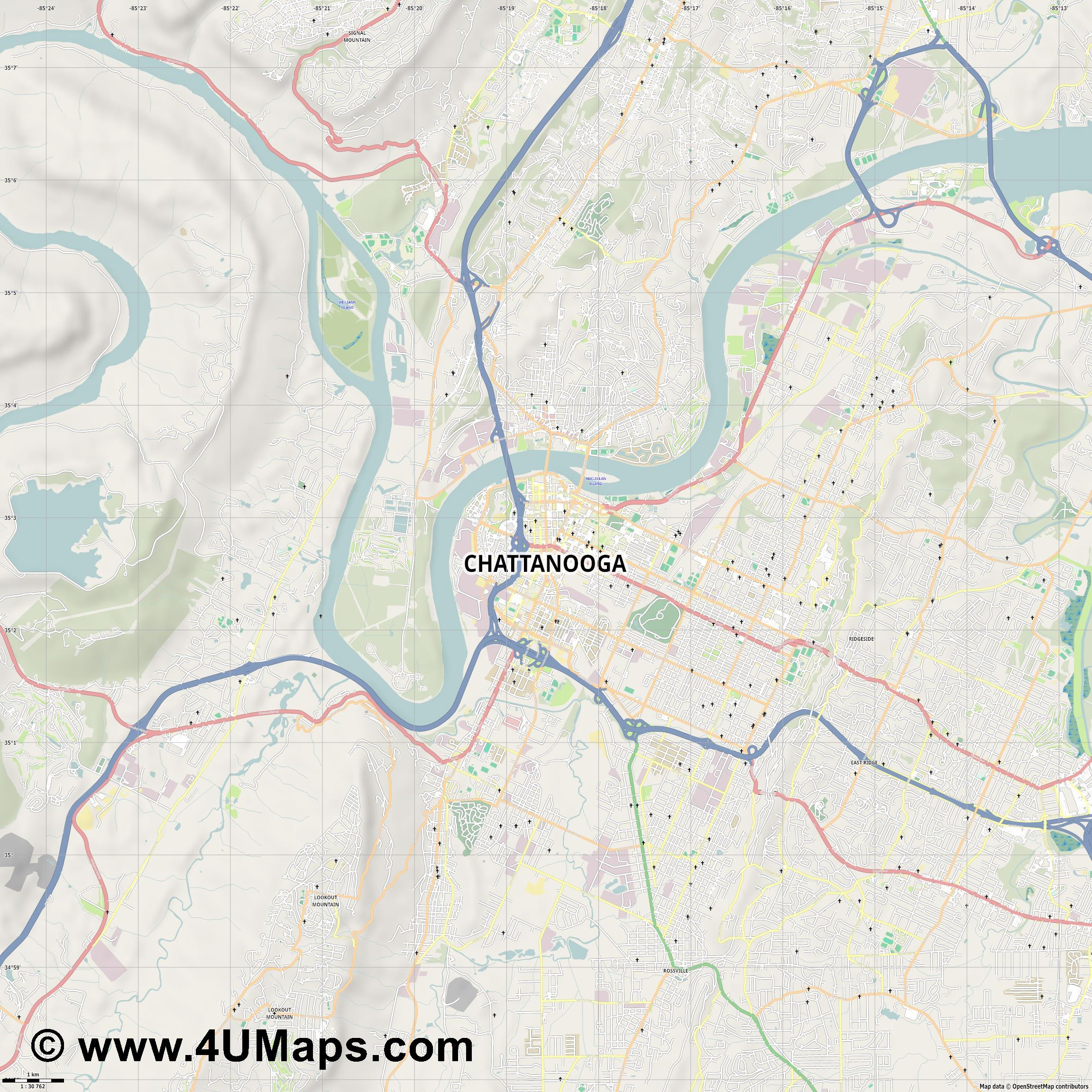 Chattanooga  jpg high detail, large area preview vector city map