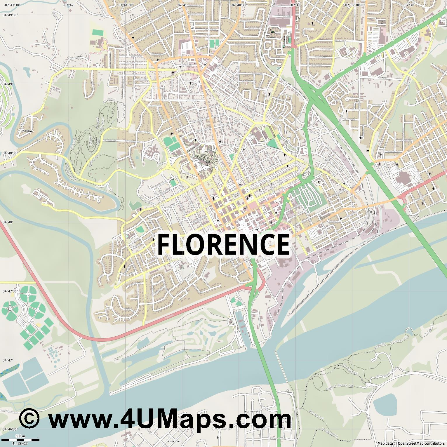 Florence  jpg ultra high detail preview vector city map