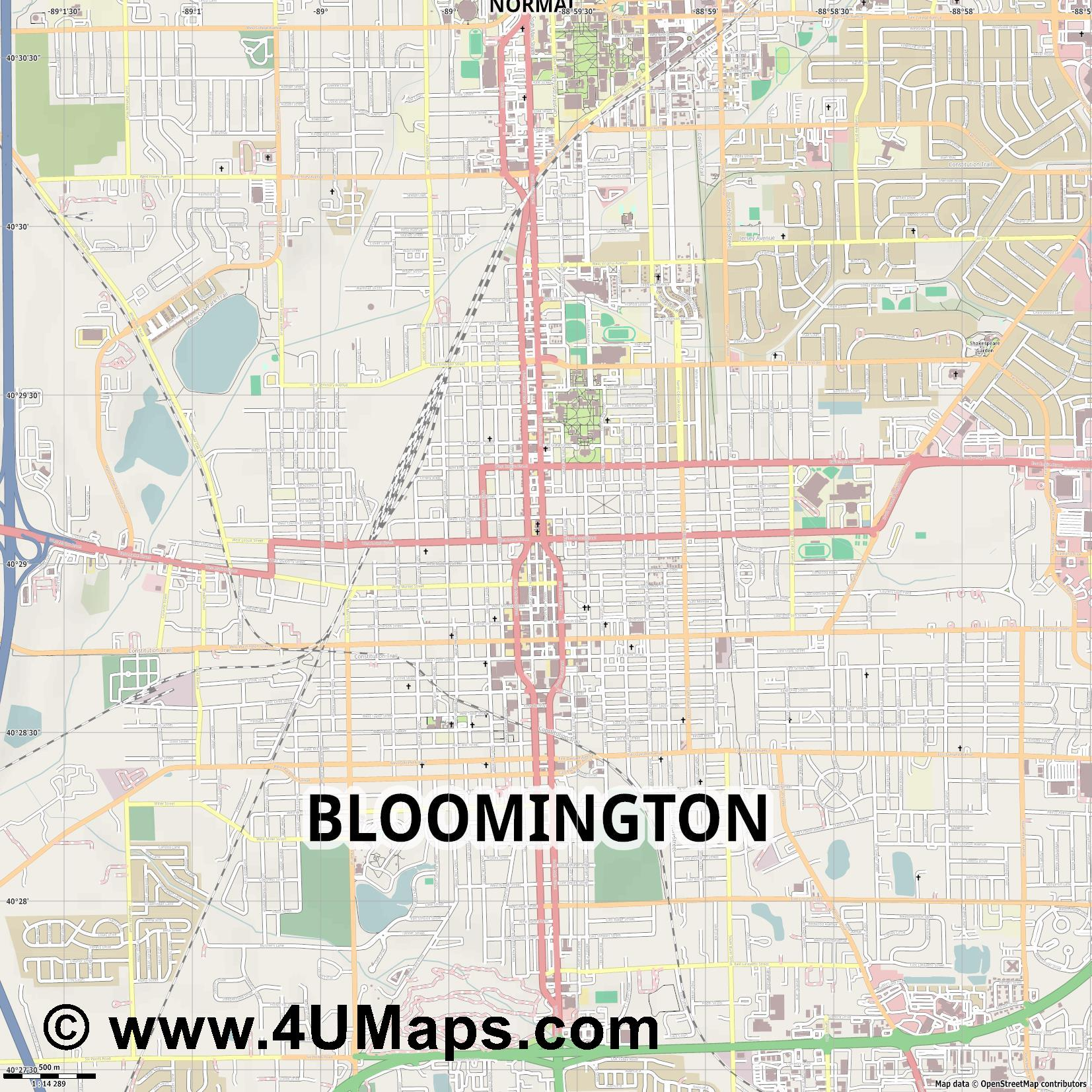 Bloomington  jpg ultra high detail preview vector city map