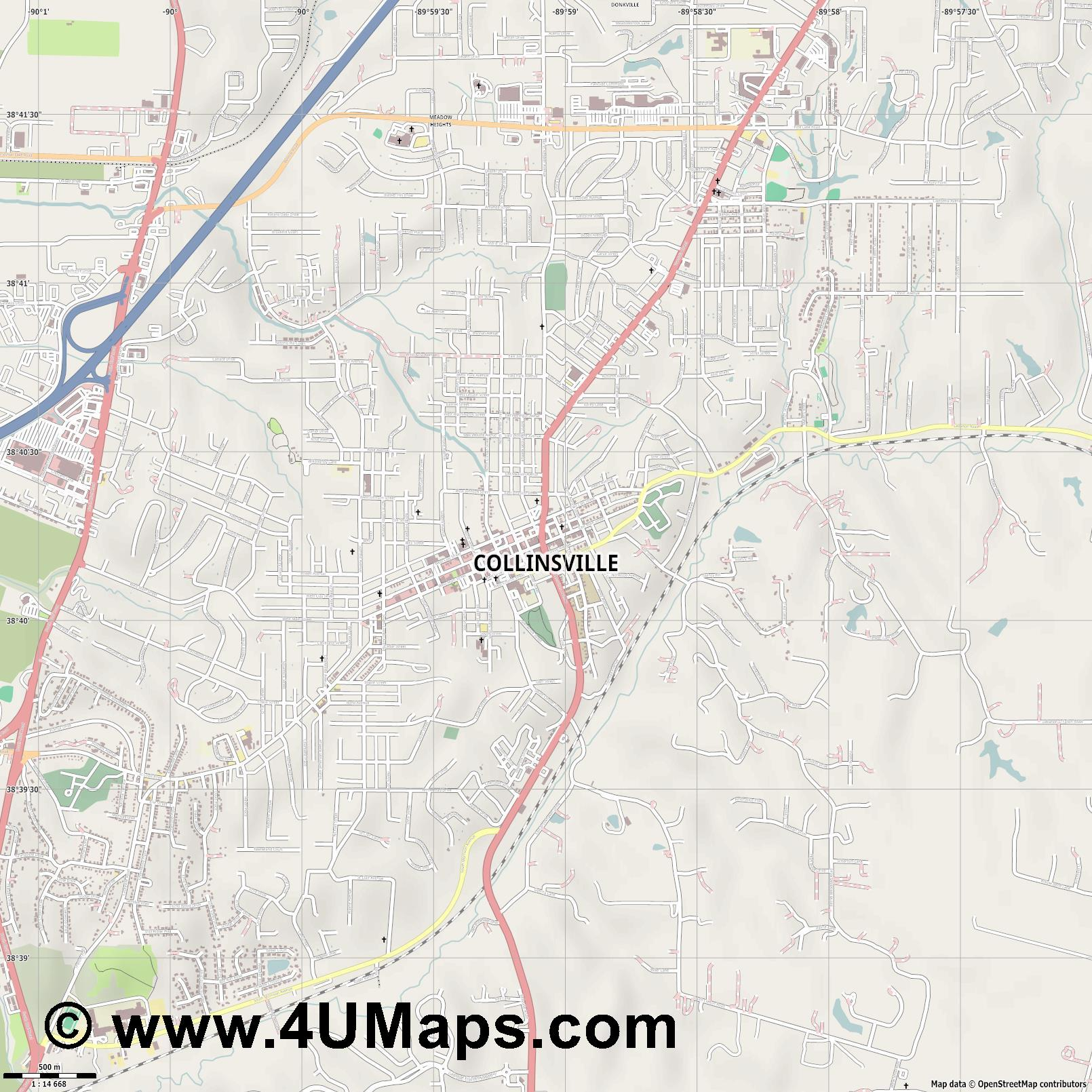Collinsville  jpg ultra high detail preview vector city map