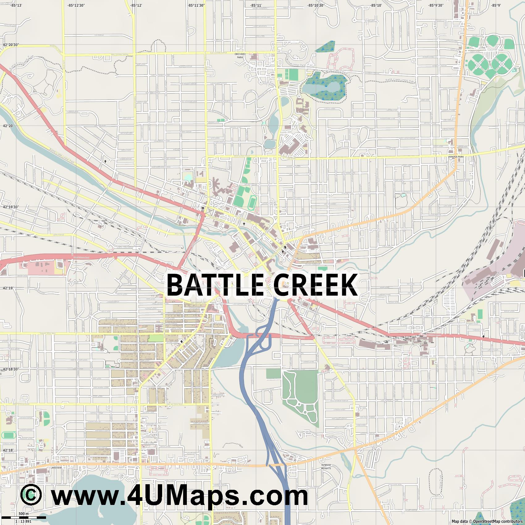 Battle Creek  jpg ultra high detail preview vector city map