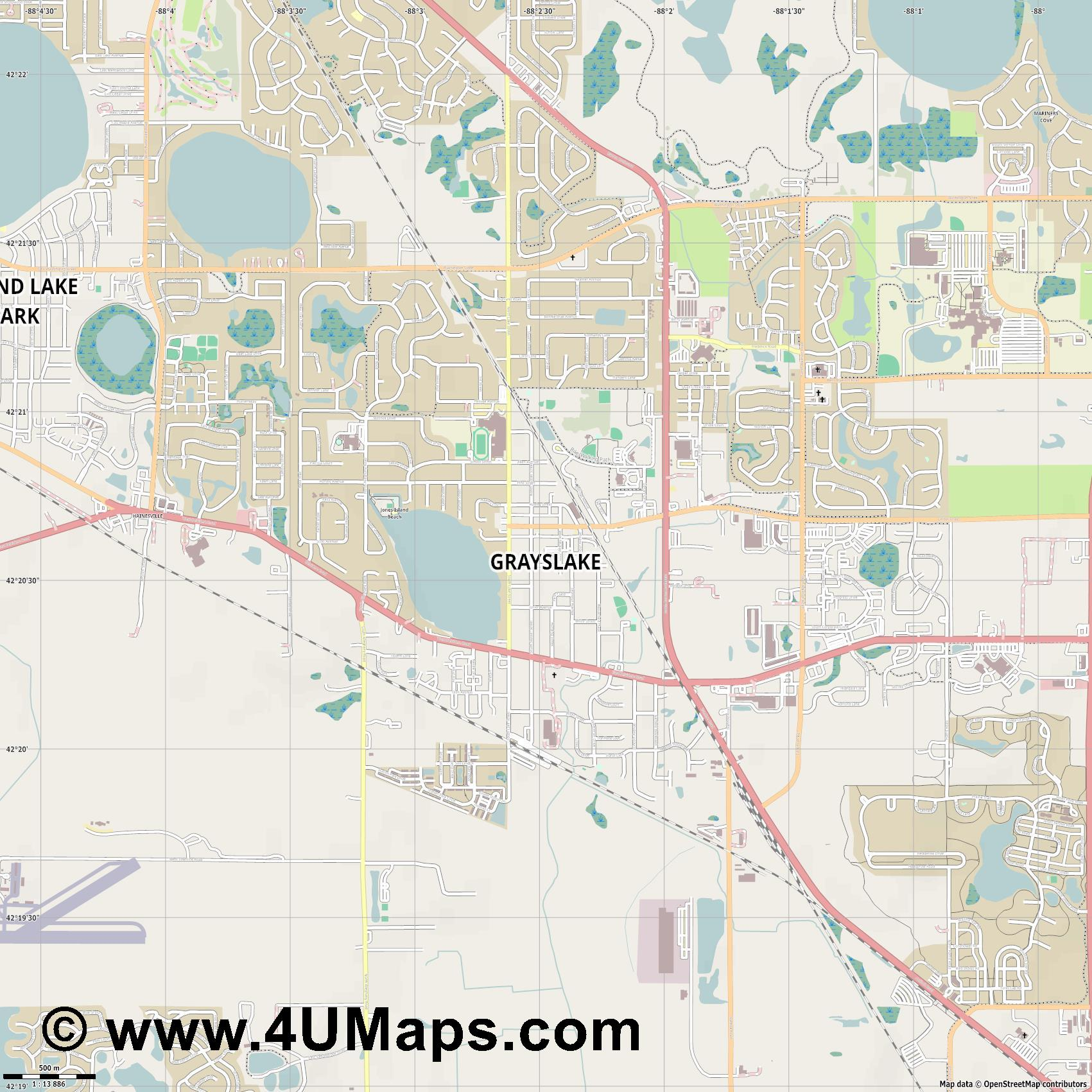 Grayslake  jpg ultra high detail preview vector city map