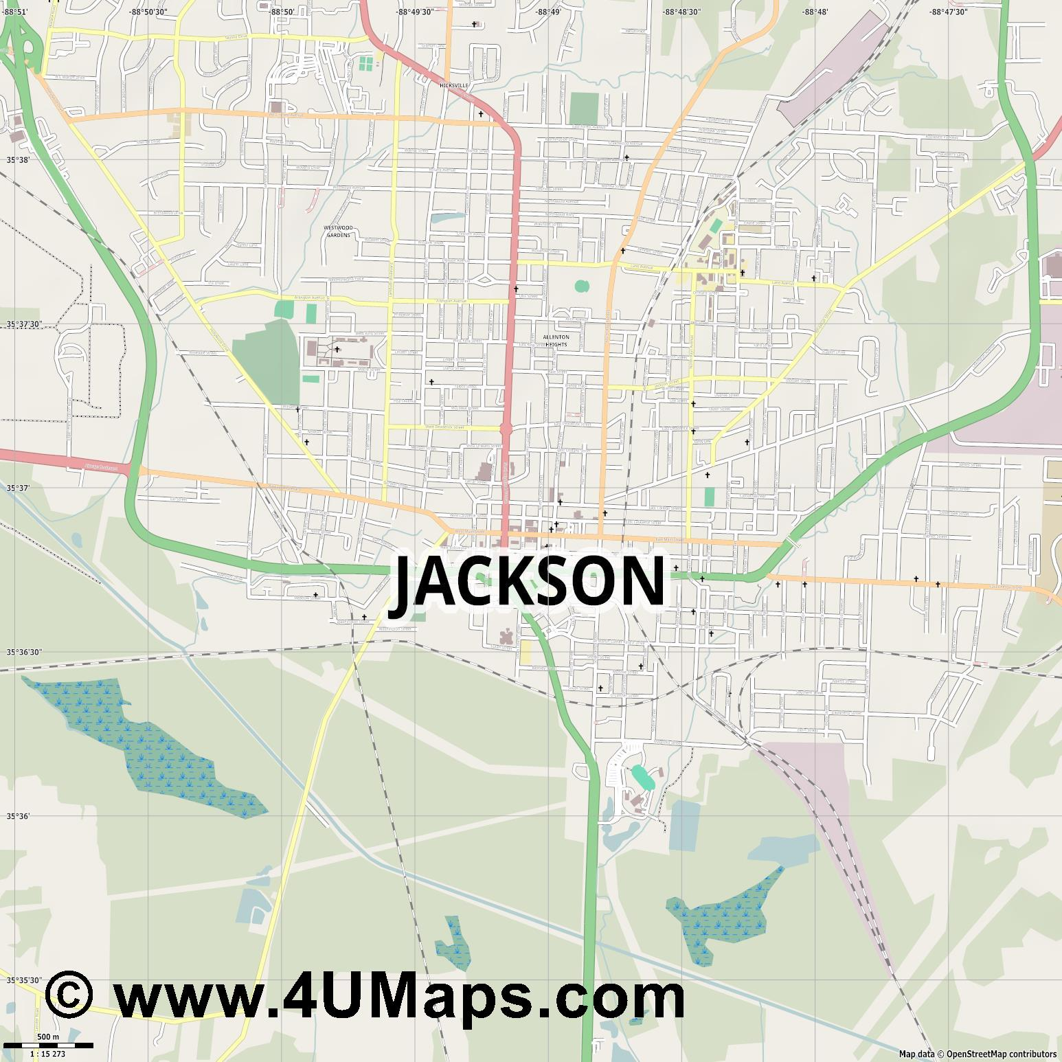Jackson  jpg ultra high detail preview vector city map