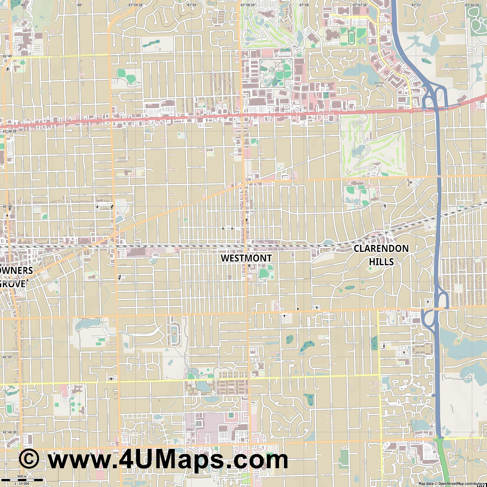 Westmont  jpg ultra high detail preview vector city map