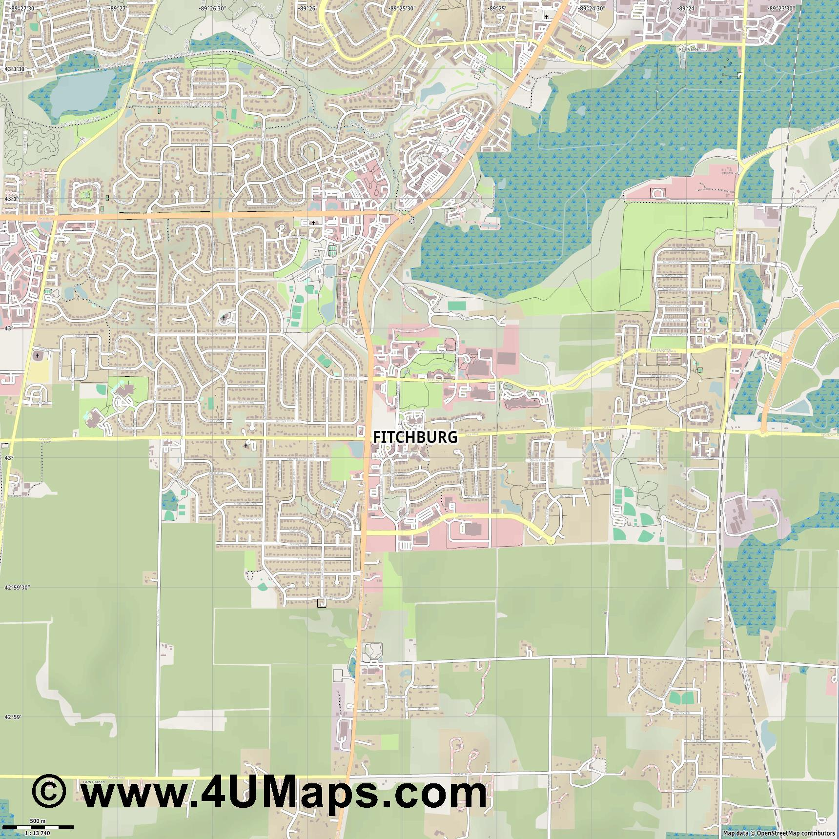 Fitchburg  jpg ultra high detail preview vector city map