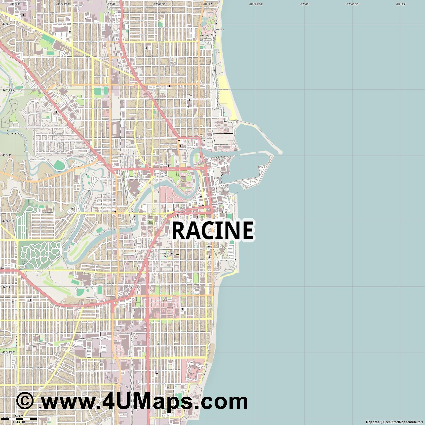 Racine  jpg ultra high detail preview vector city map
