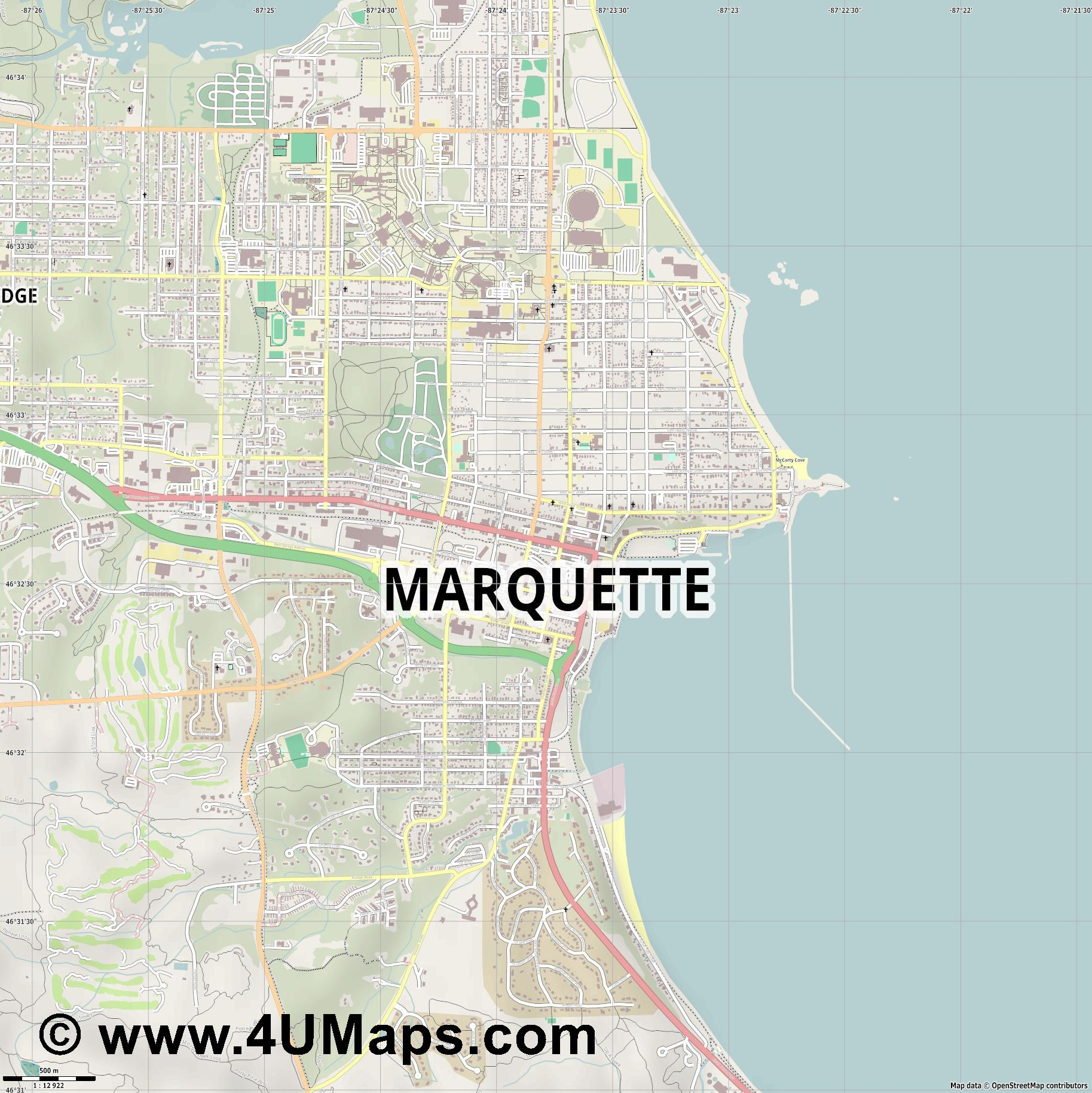 Marquette  jpg ultra high detail preview vector city map
