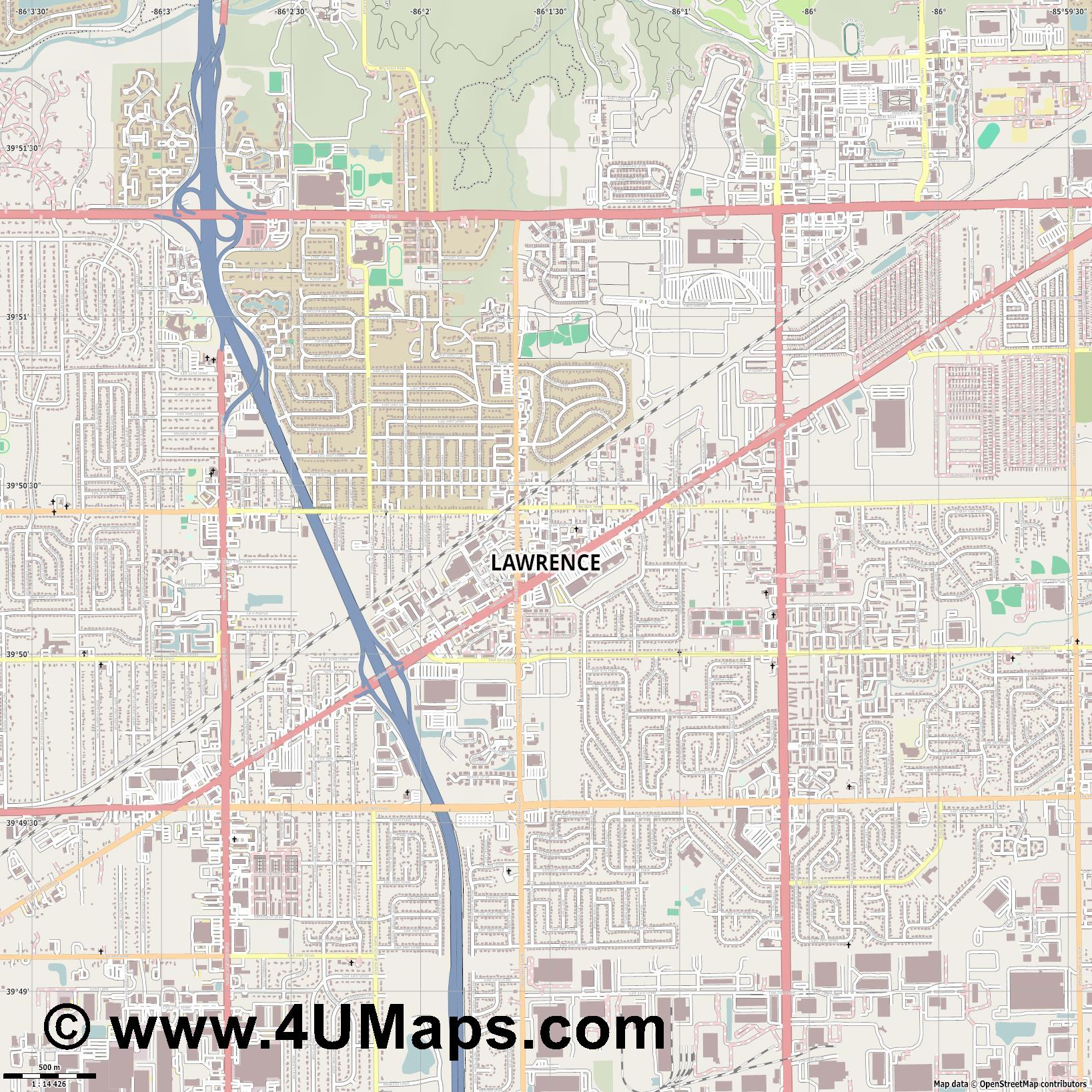 Lawrence  jpg ultra high detail preview vector city map