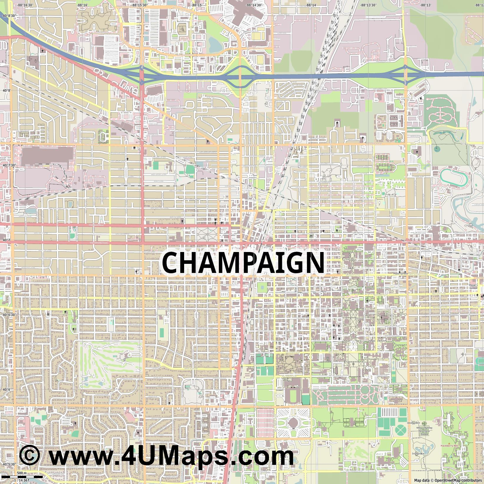 Champaign  jpg ultra high detail preview vector city map