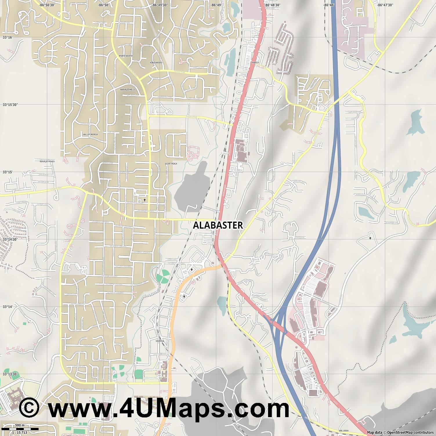 Alabaster  jpg ultra high detail preview vector city map