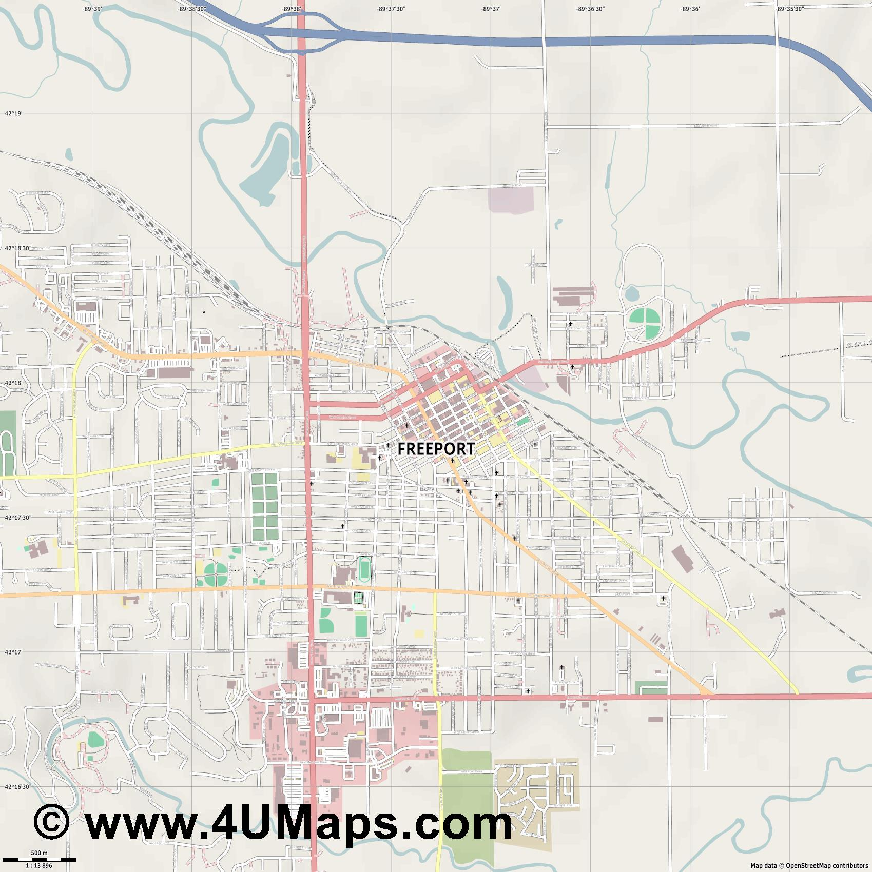 Freeport  jpg ultra high detail preview vector city map