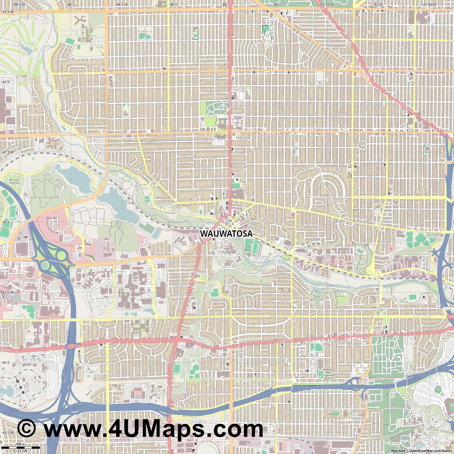 Wauwatosa  jpg ultra high detail preview vector city map
