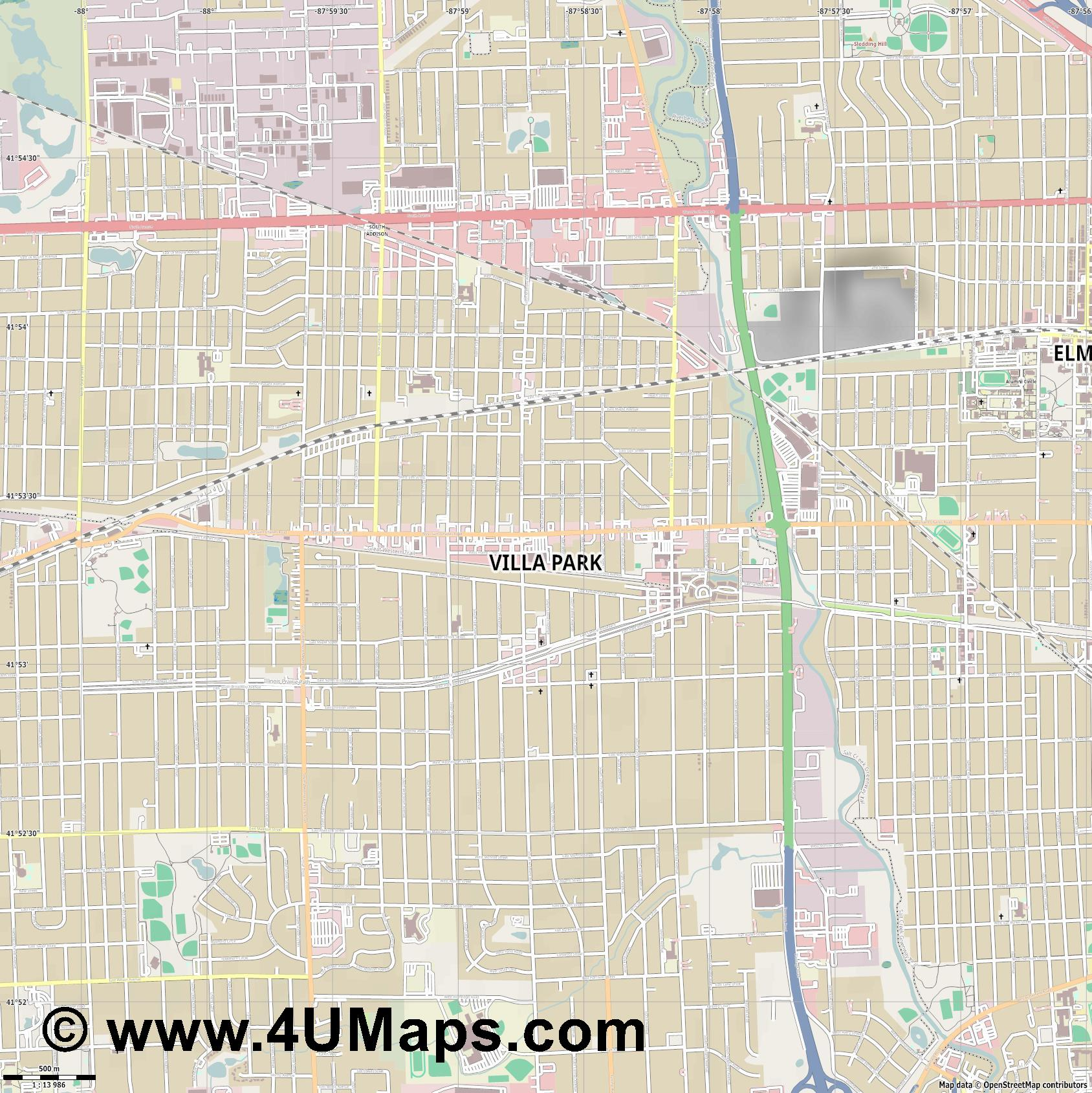 Villa Park  jpg ultra high detail preview vector city map