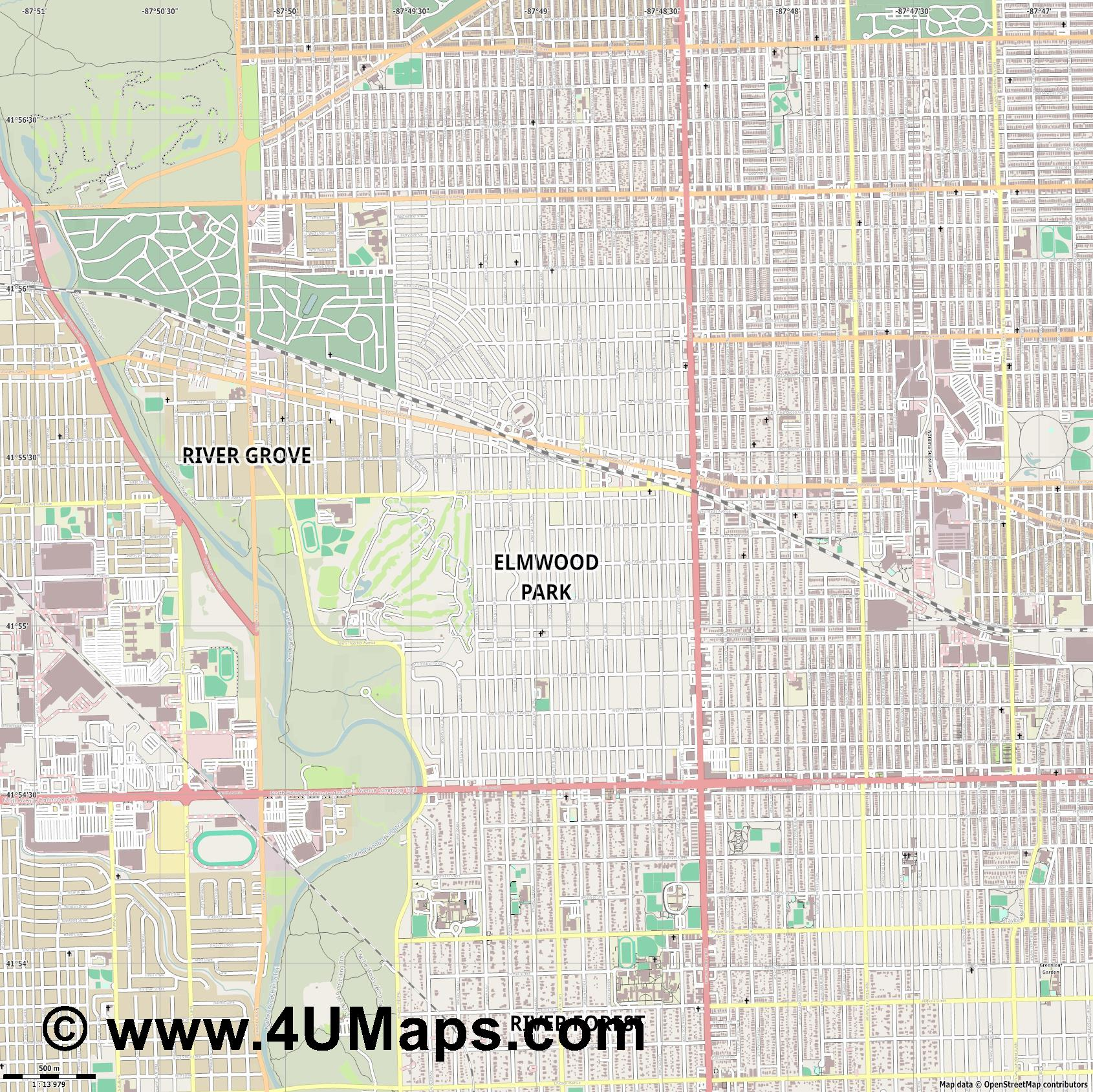 Elmwood Park  jpg ultra high detail preview vector city map