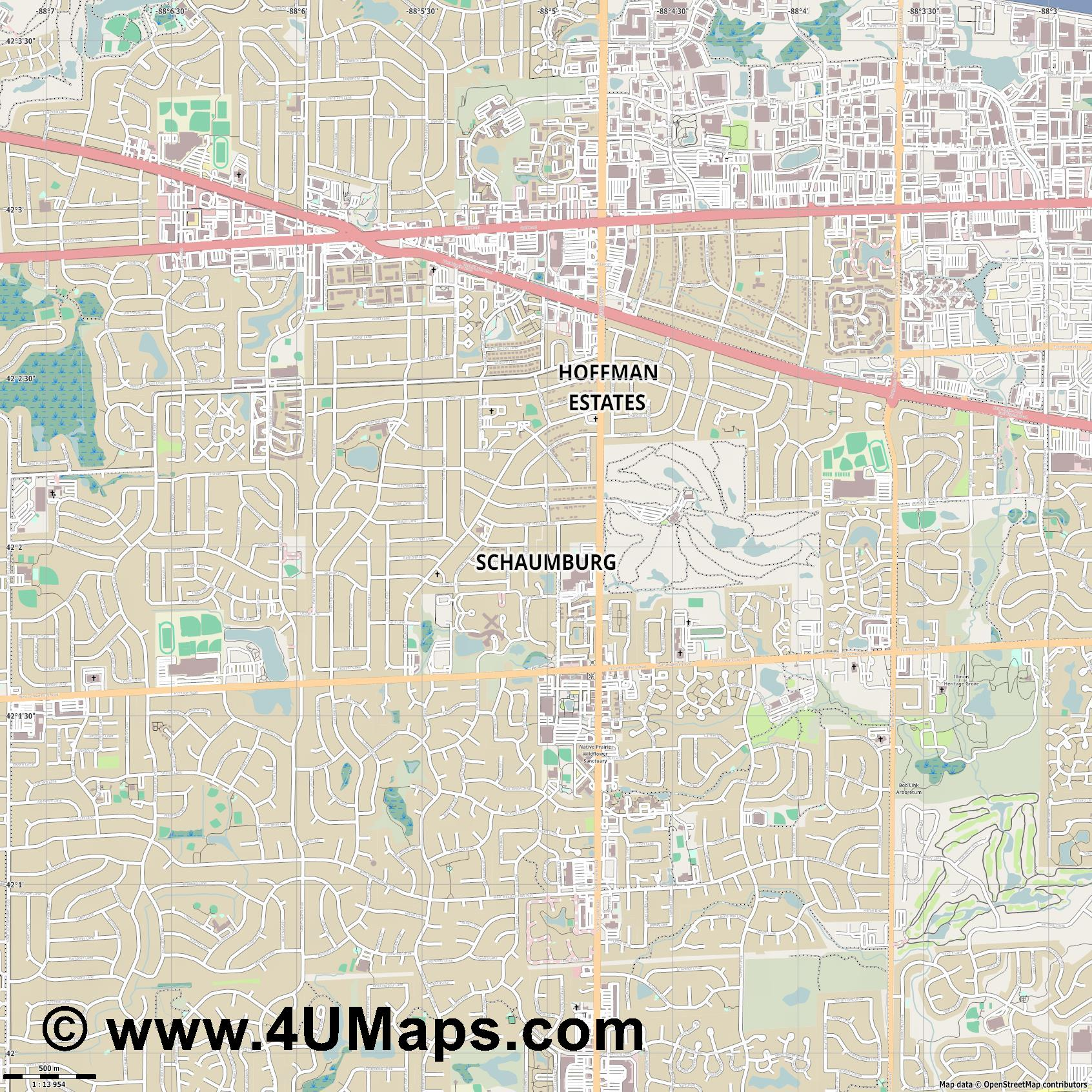 Schaumburg  jpg ultra high detail preview vector city map