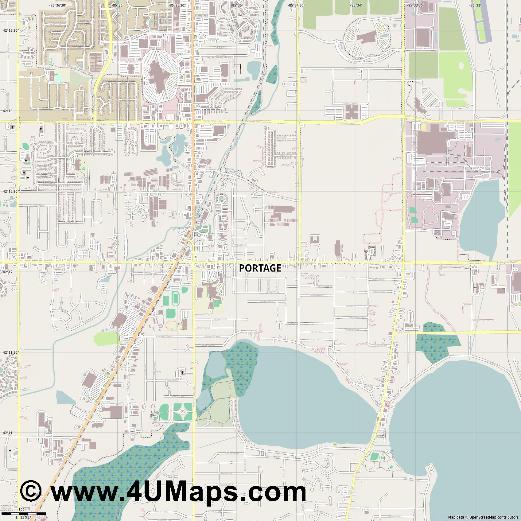 Portage  jpg ultra high detail preview vector city map