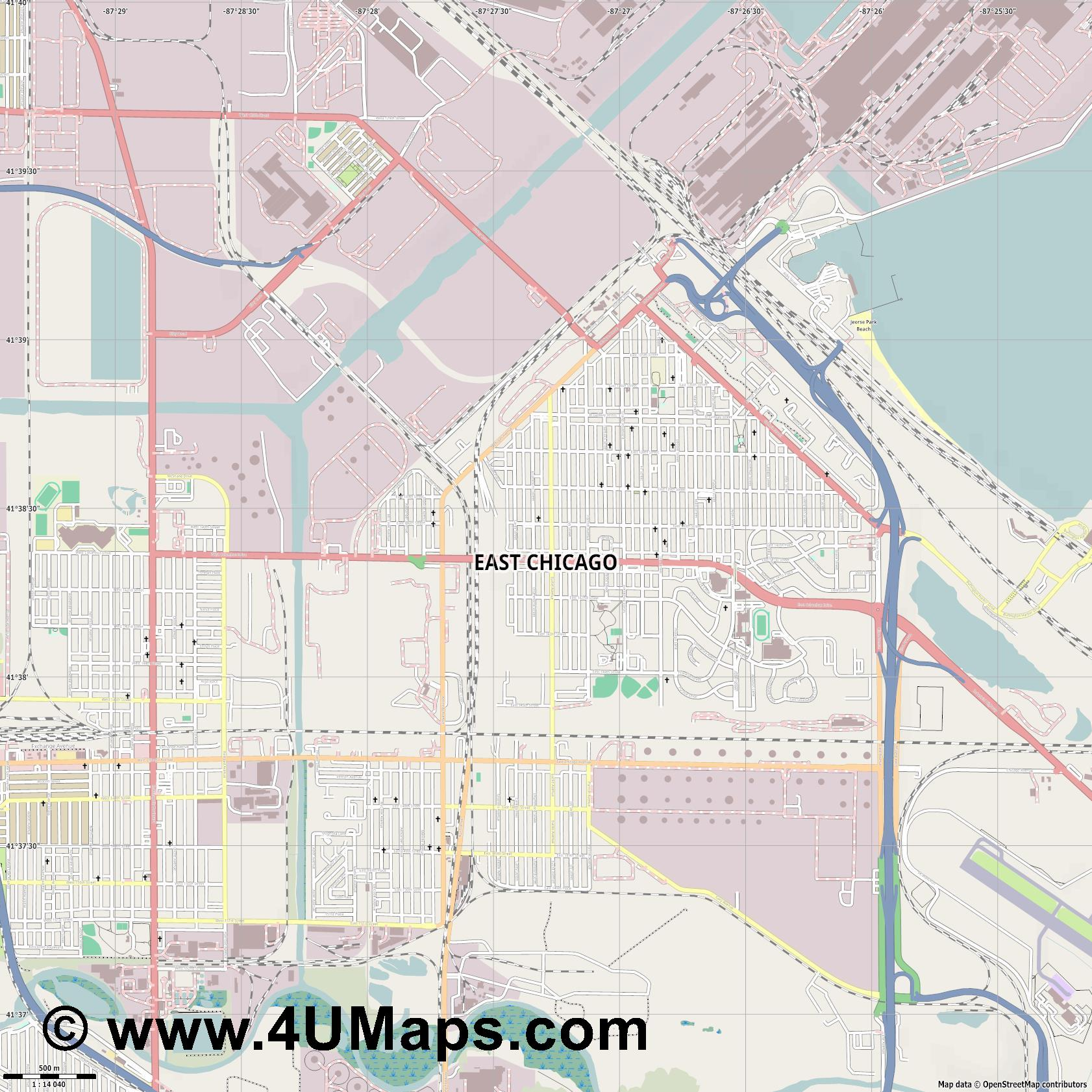 East Chicago  jpg ultra high detail preview vector city map