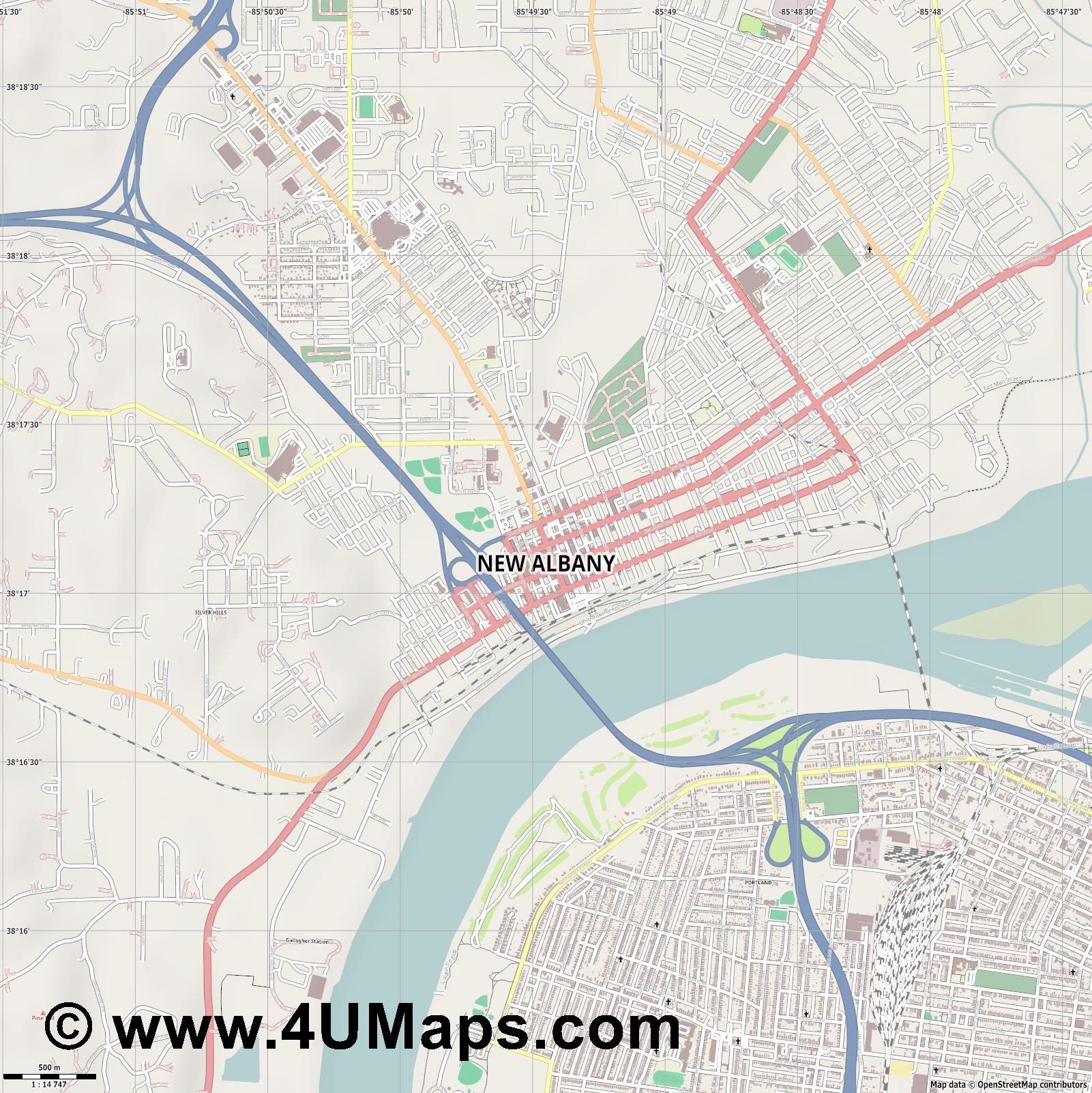 New Albany  jpg ultra high detail preview vector city map