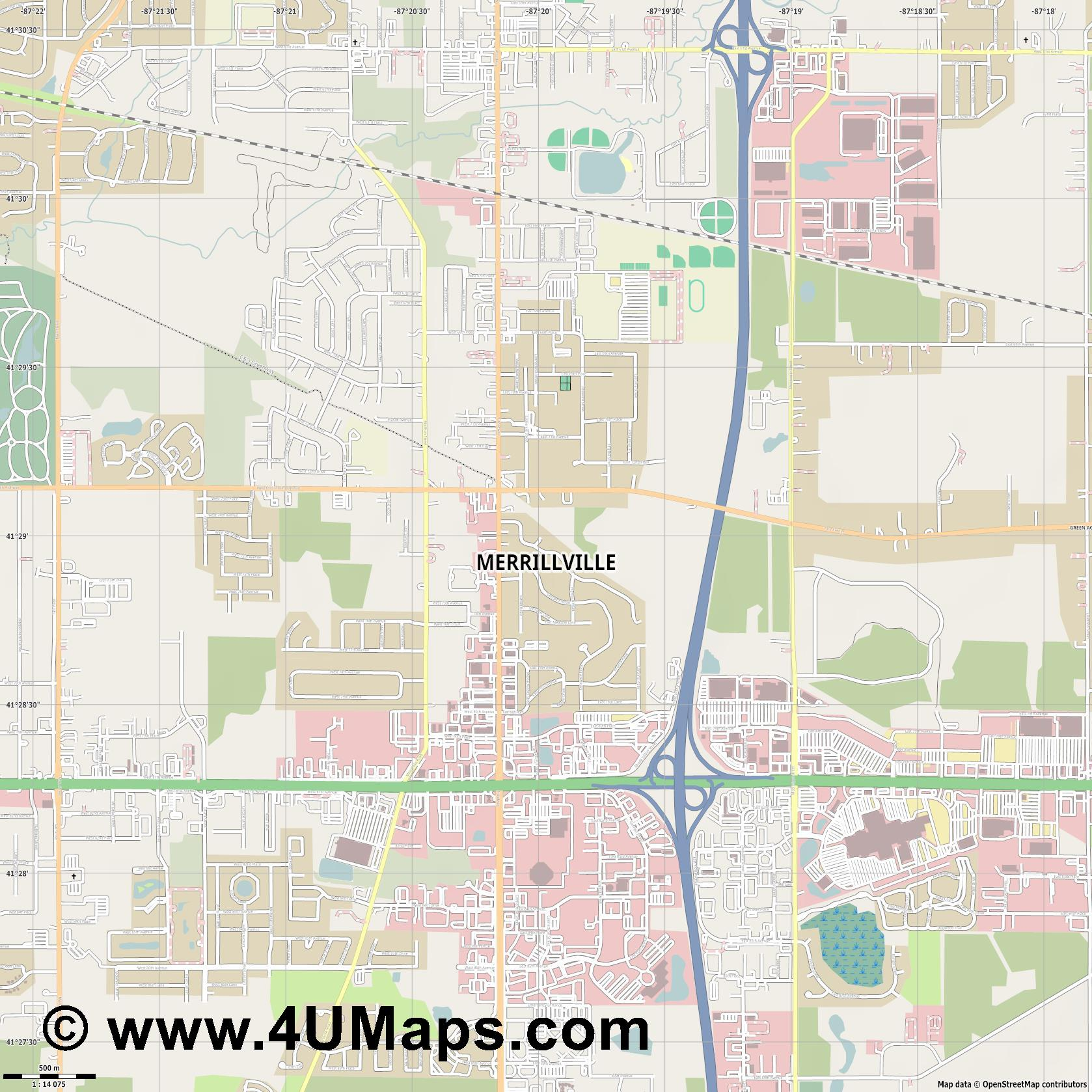 Merrillville  jpg ultra high detail preview vector city map