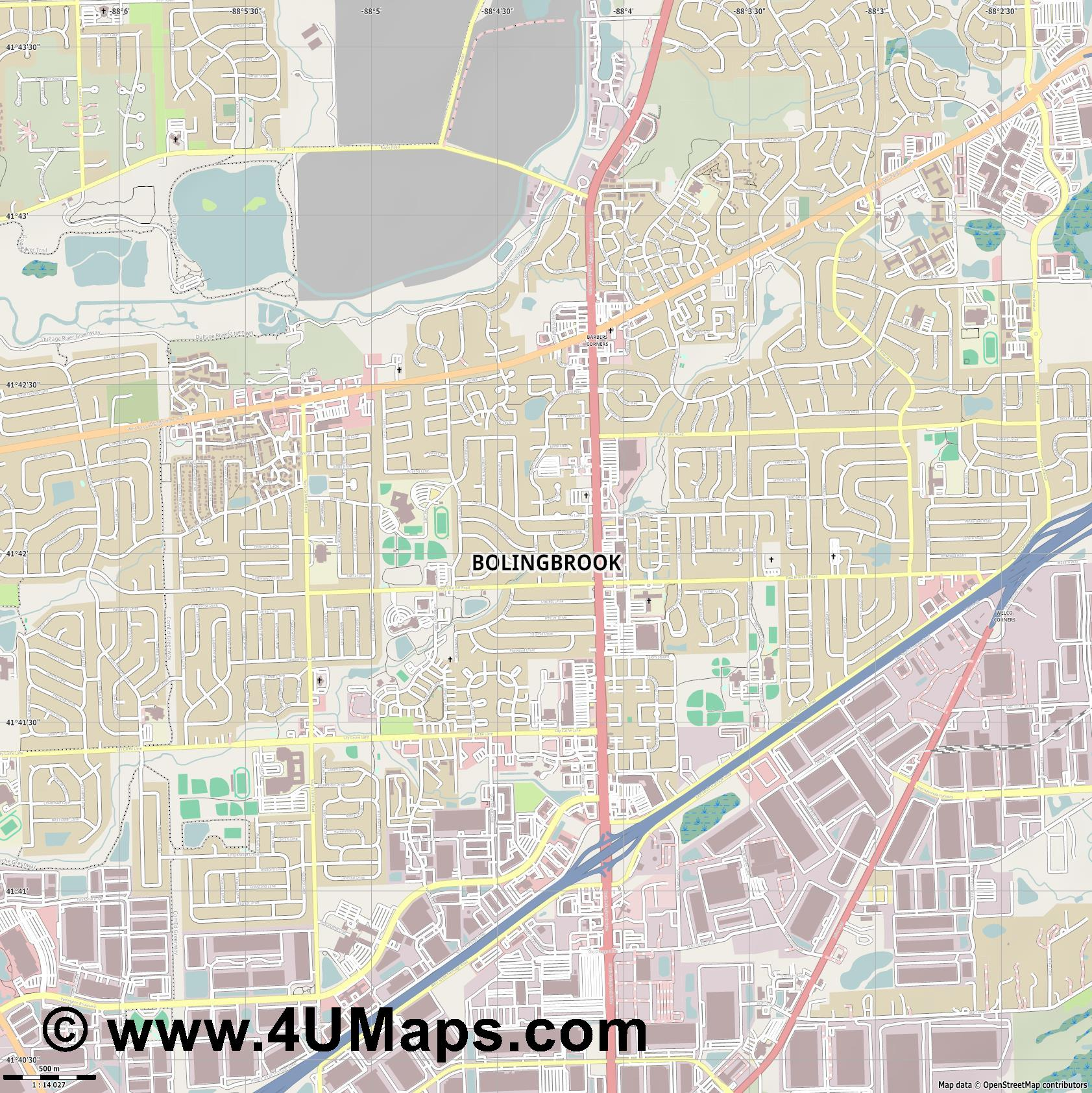 Bolingbrook  jpg ultra high detail preview vector city map