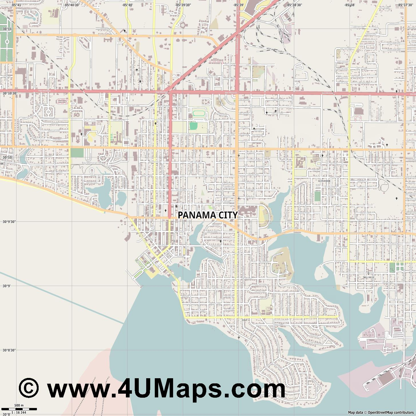 Panama City  jpg ultra high detail preview vector city map