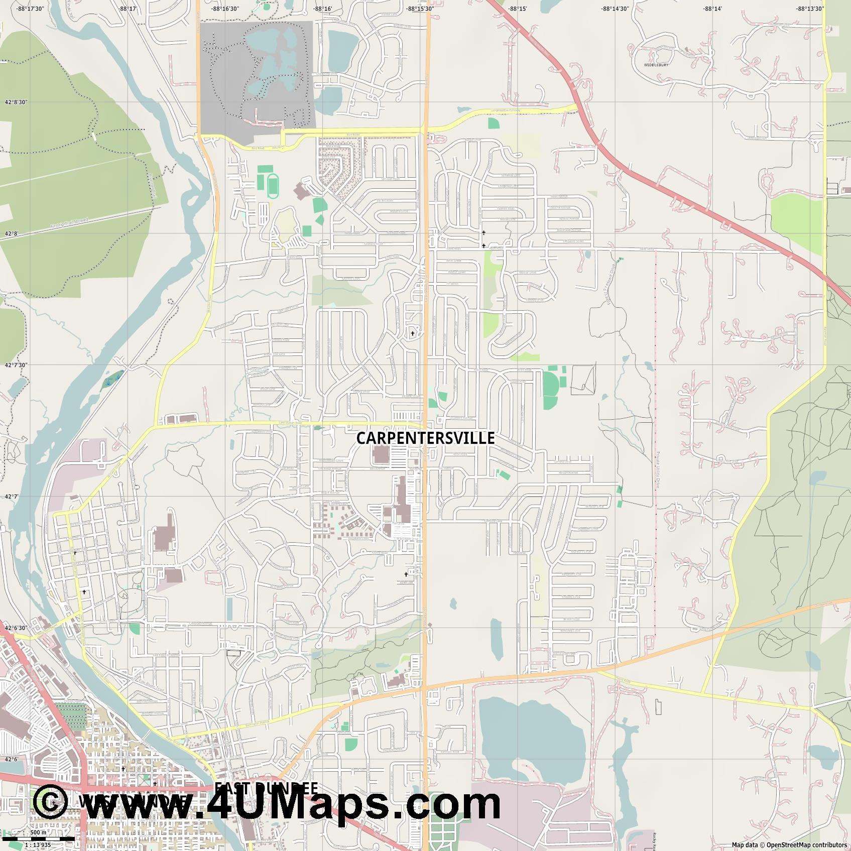 Carpentersville  jpg ultra high detail preview vector city map