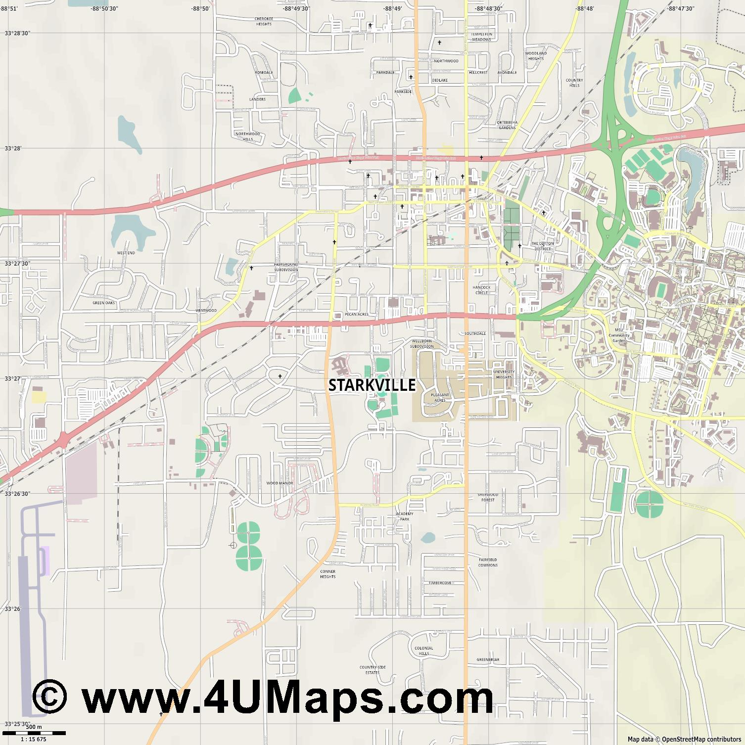 Starkville  jpg ultra high detail preview vector city map