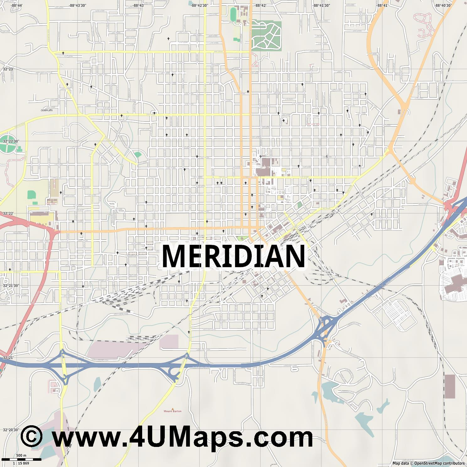 Meridian  jpg ultra high detail preview vector city map