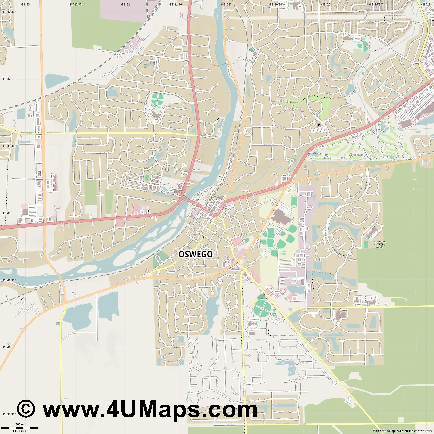 Oswego  jpg ultra high detail preview vector city map