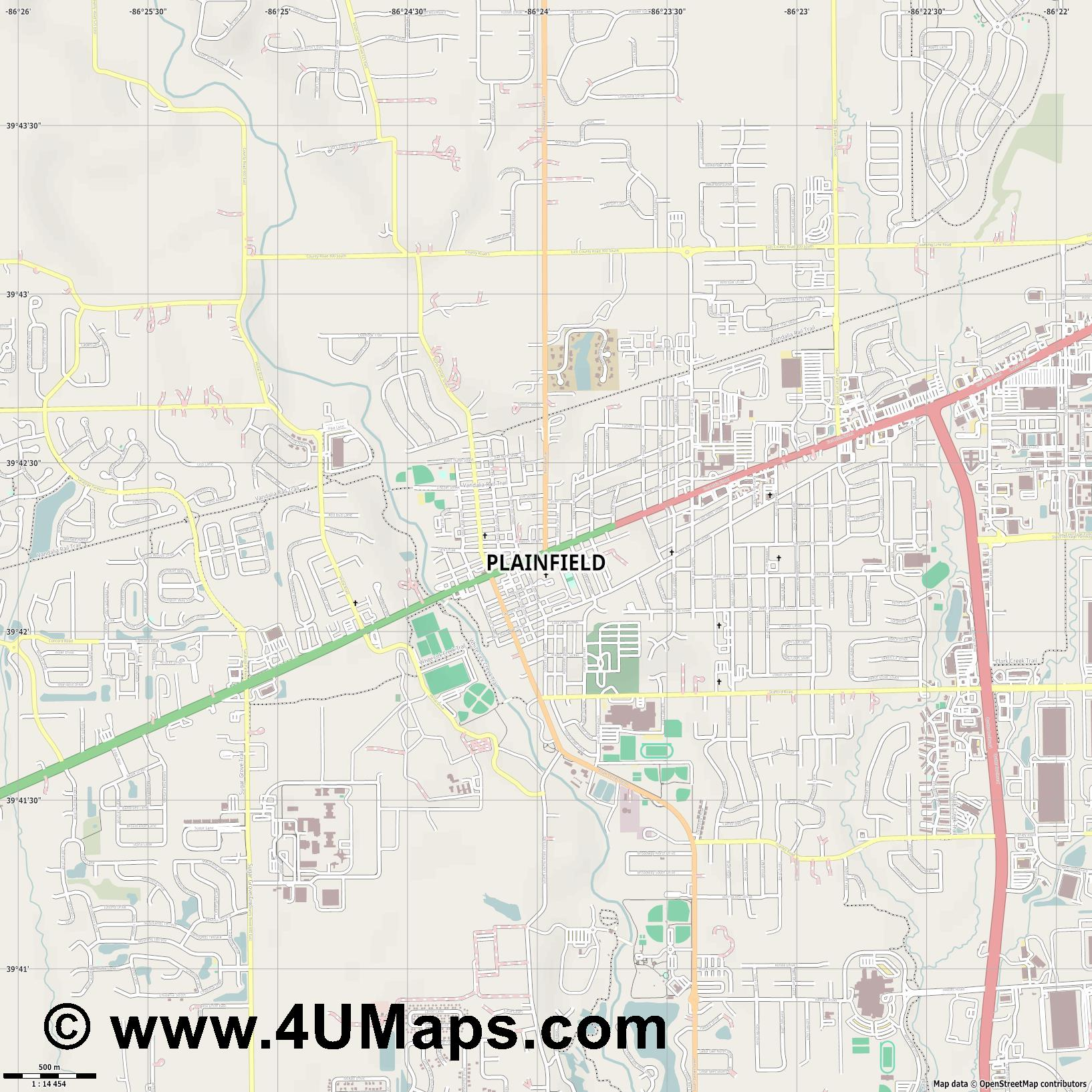 Plainfield  jpg ultra high detail preview vector city map