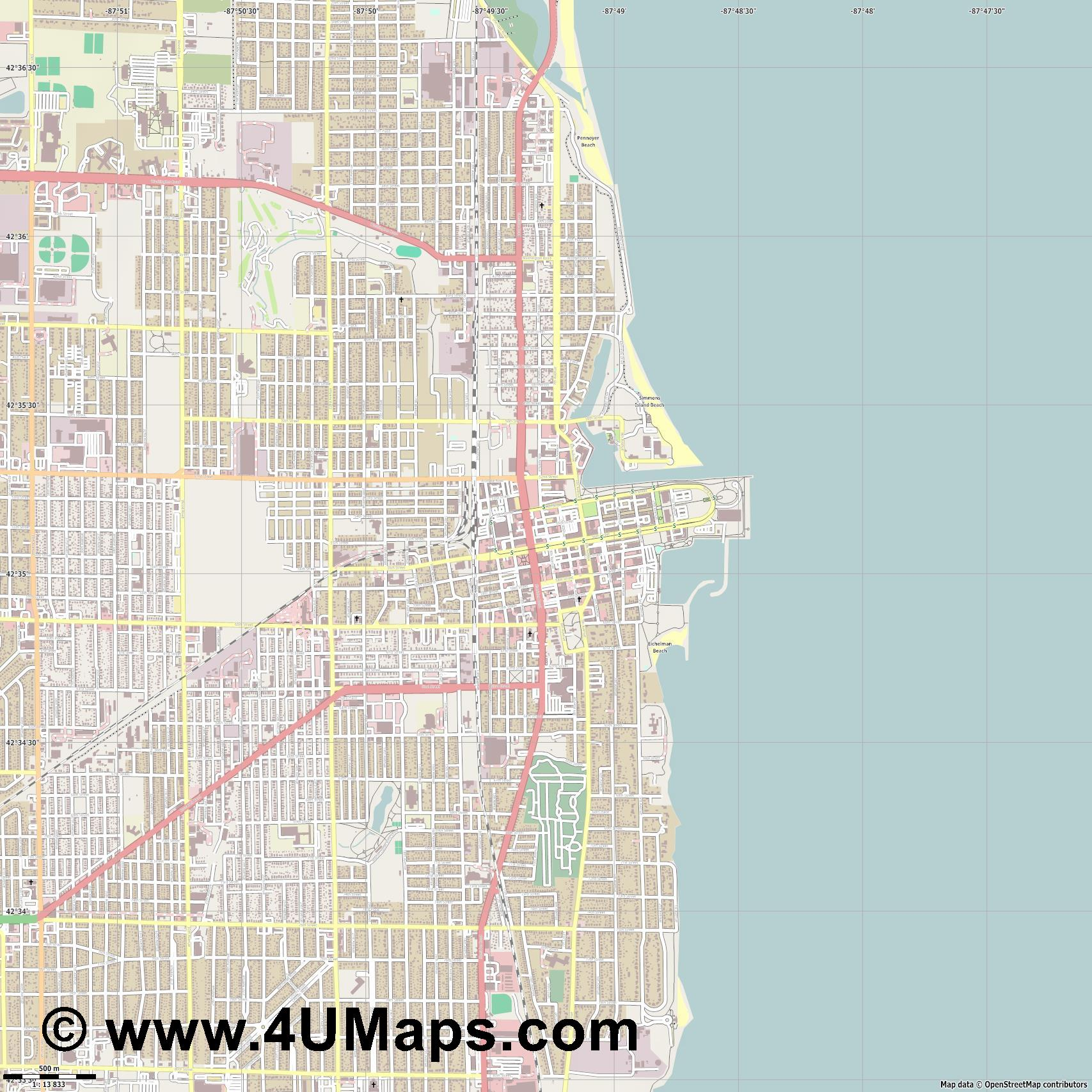 Kenosha  jpg ultra high detail preview vector city map