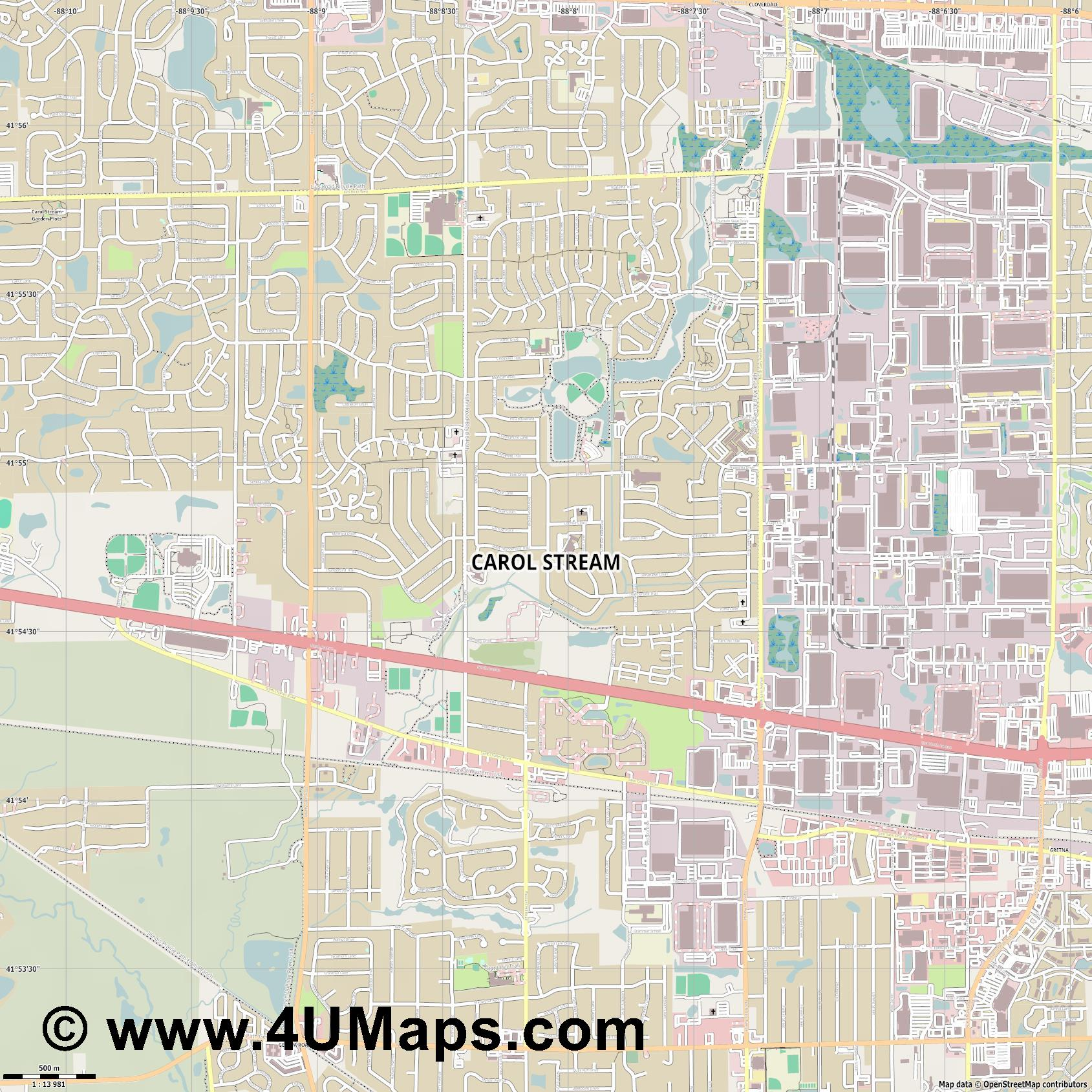 Carol Stream  jpg ultra high detail preview vector city map