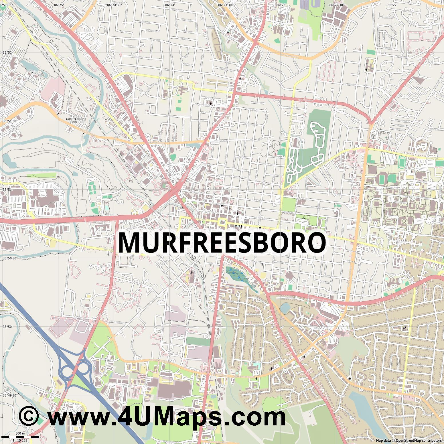 Murfreesboro  jpg ultra high detail preview vector city map