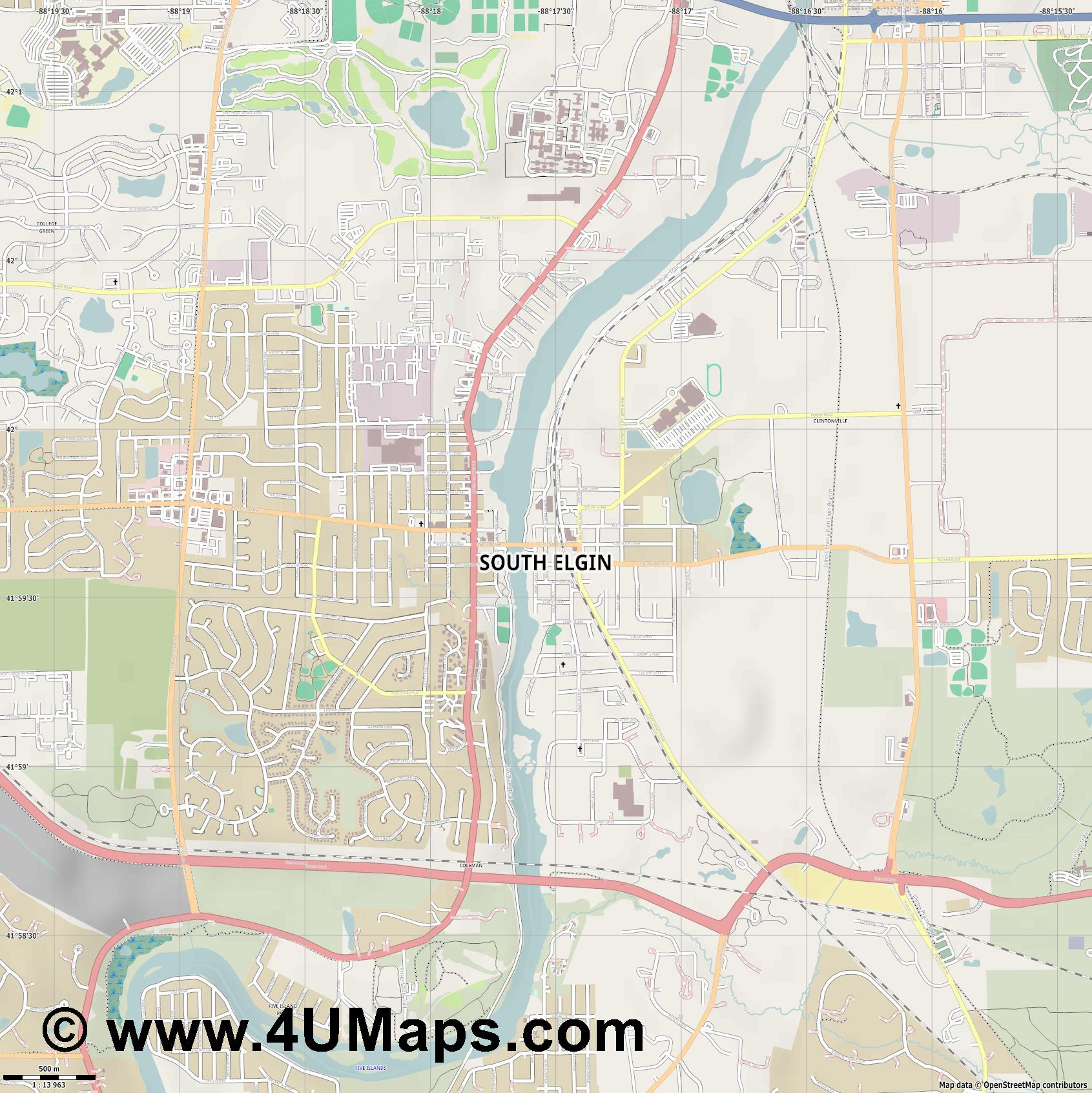 South Elgin  jpg ultra high detail preview vector city map