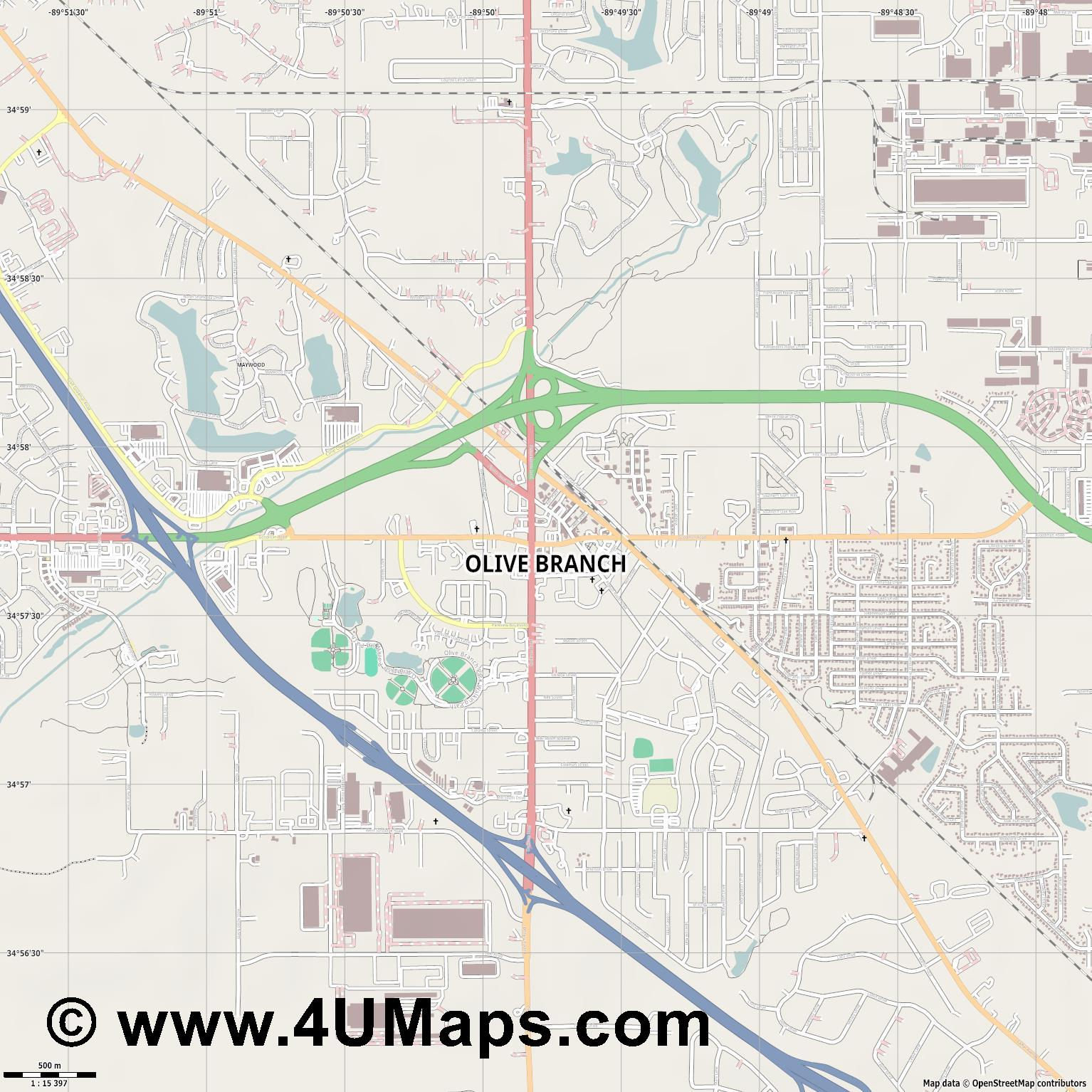 Olive Branch  jpg ultra high detail preview vector city map