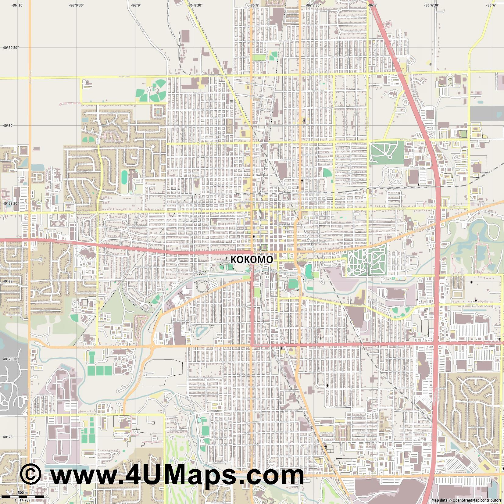 Kokomo  jpg ultra high detail preview vector city map
