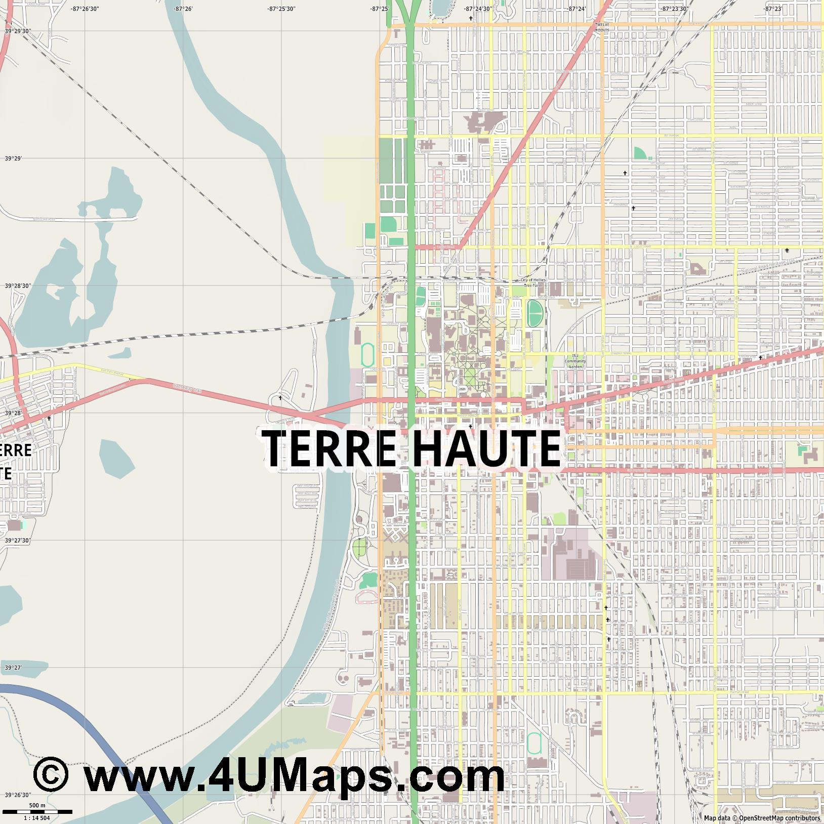 Terre Haute  jpg ultra high detail preview vector city map