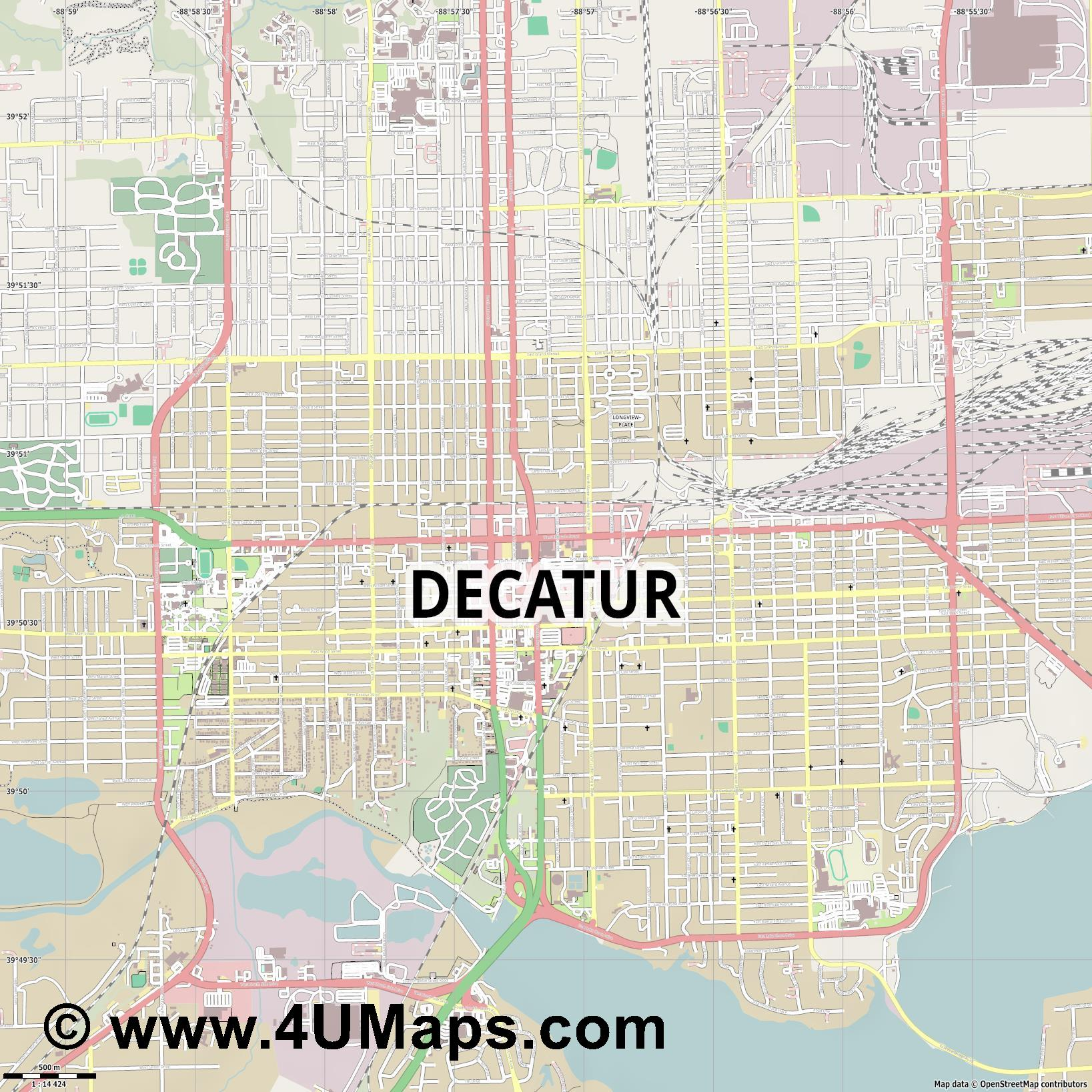 Decatur  jpg ultra high detail preview vector city map