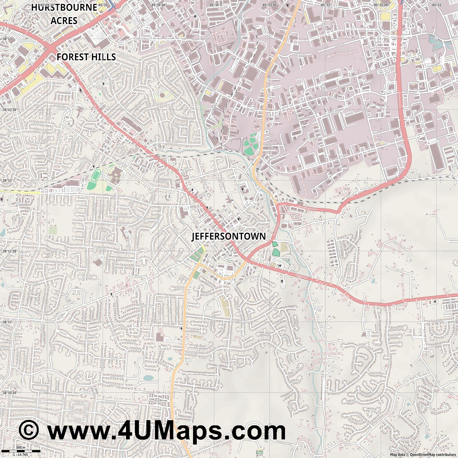 Jeffersontown  jpg ultra high detail preview vector city map