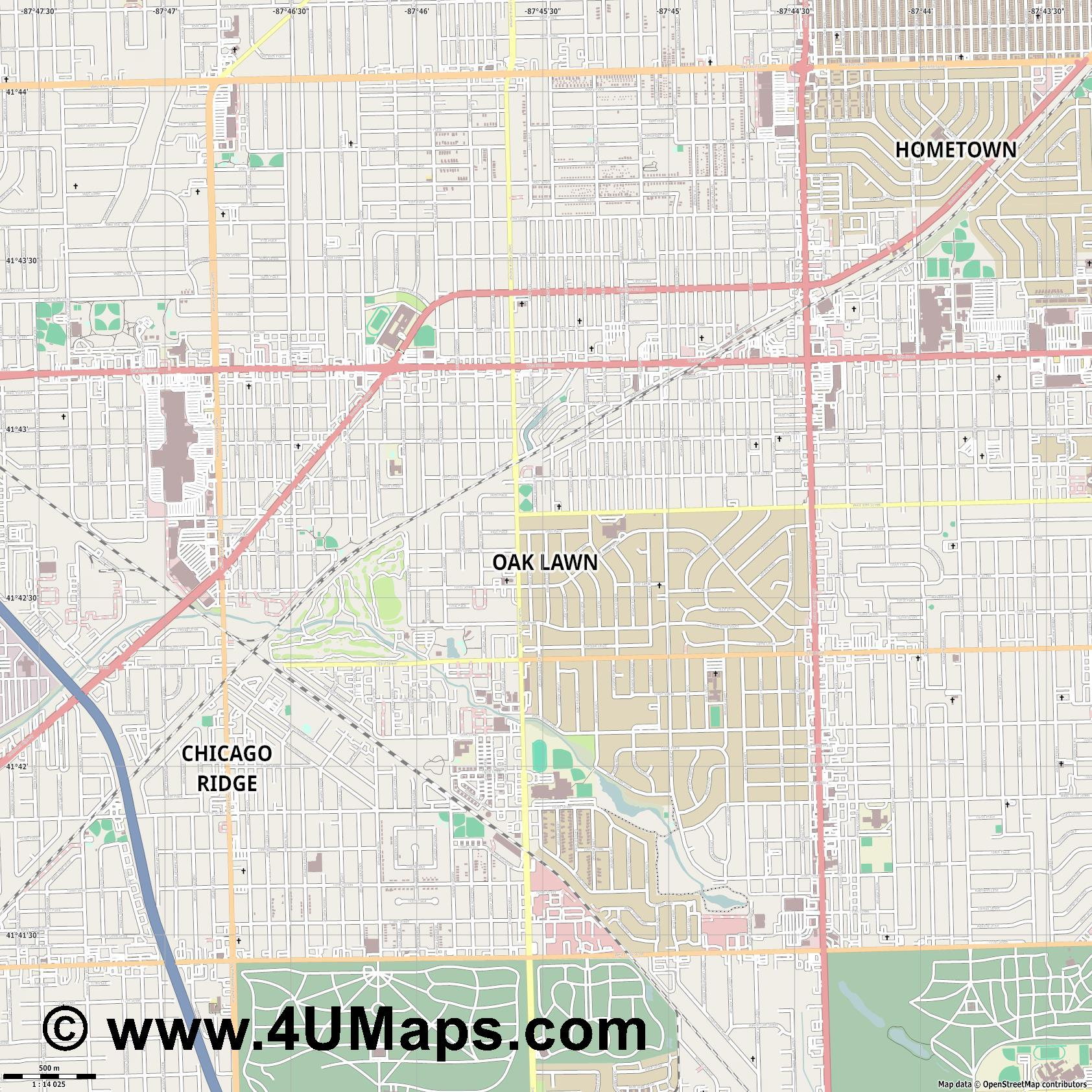 Oak Lawn  jpg ultra high detail preview vector city map