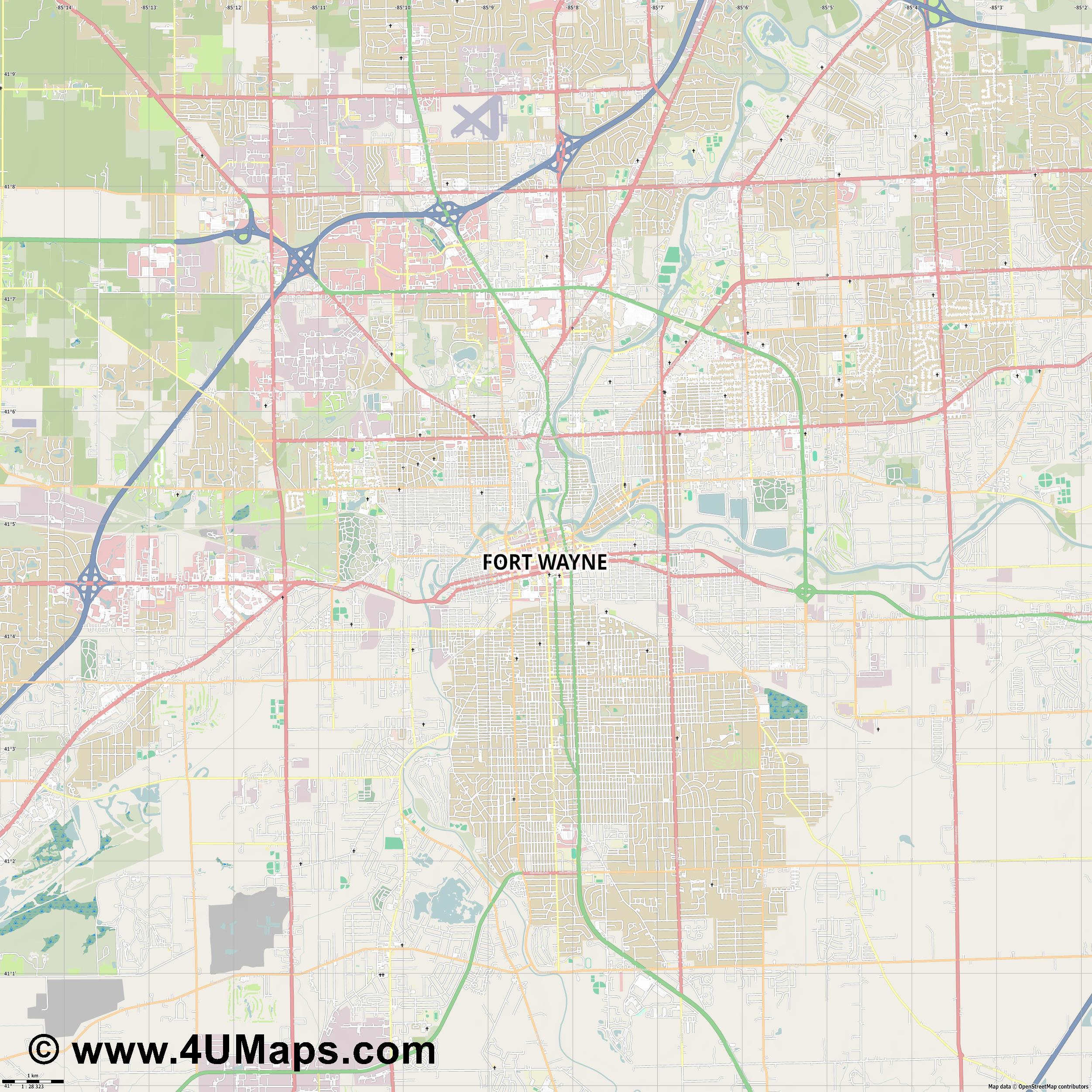 Fort Wayne  jpg high detail, large area preview vector city map