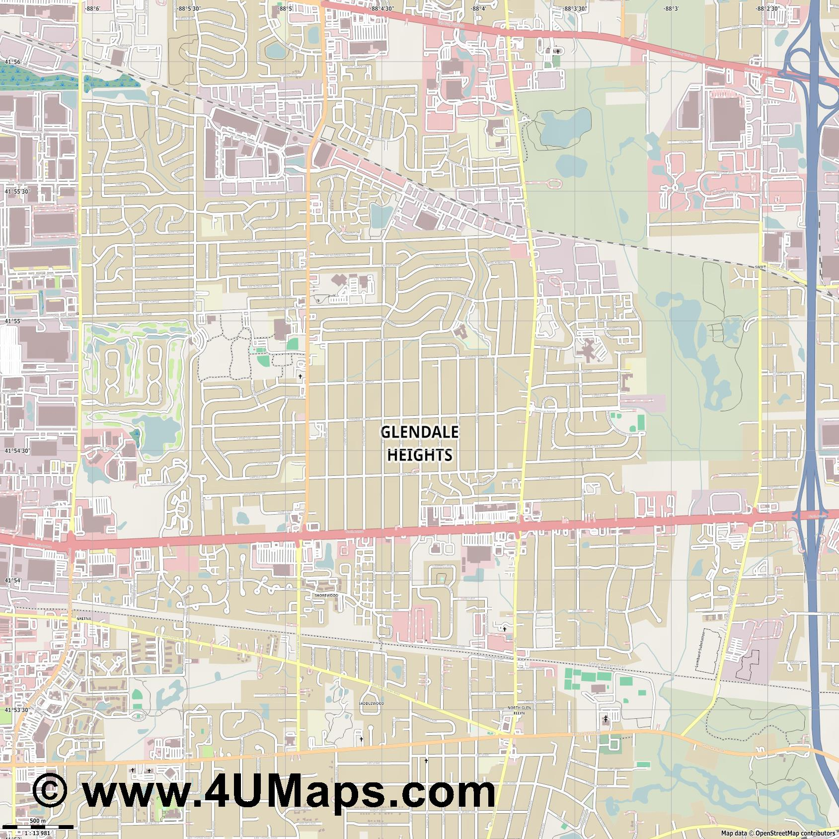 Glendale Heights  jpg ultra high detail preview vector city map