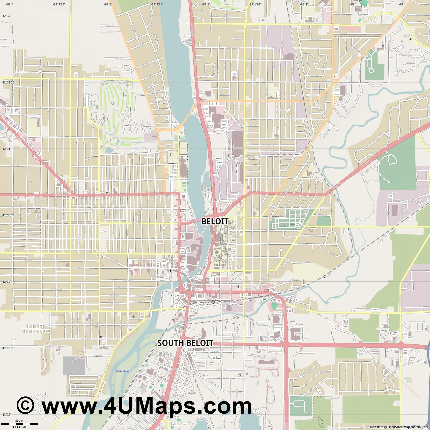 Beloit  jpg ultra high detail preview vector city map