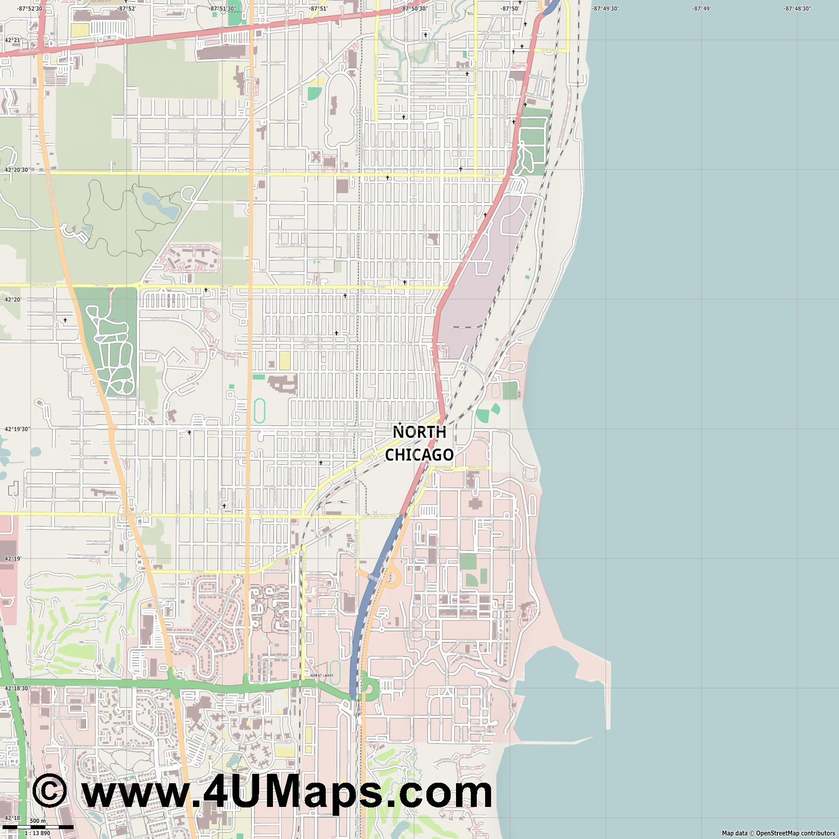 North Chicago  jpg ultra high detail preview vector city map