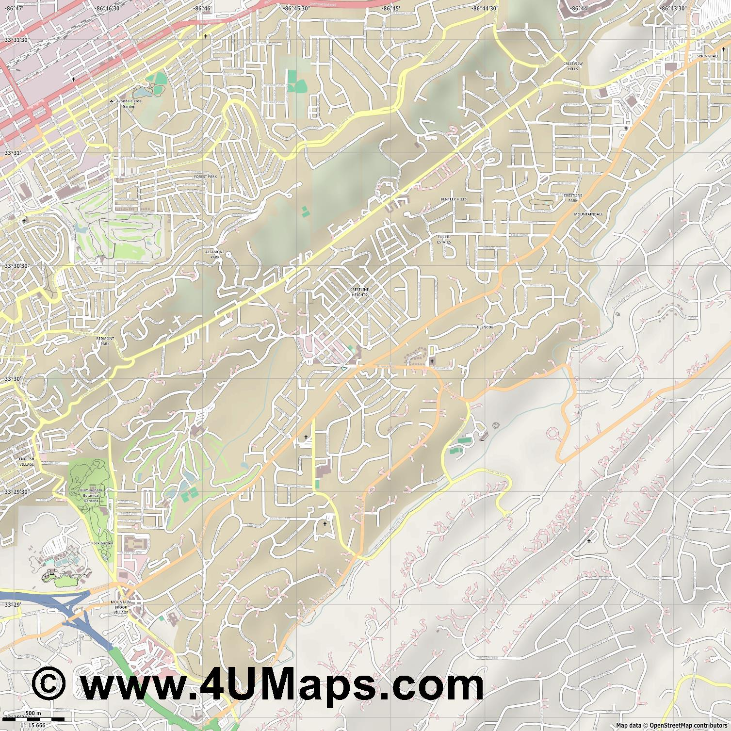 Mountain Brook  jpg ultra high detail preview vector city map