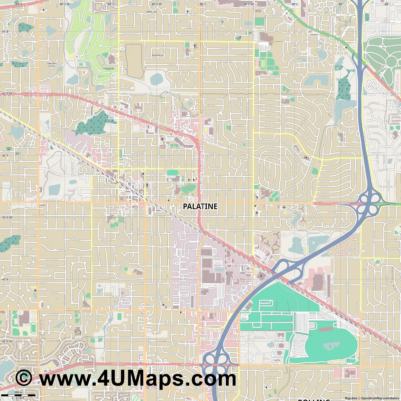 Palatine  jpg ultra high detail preview vector city map