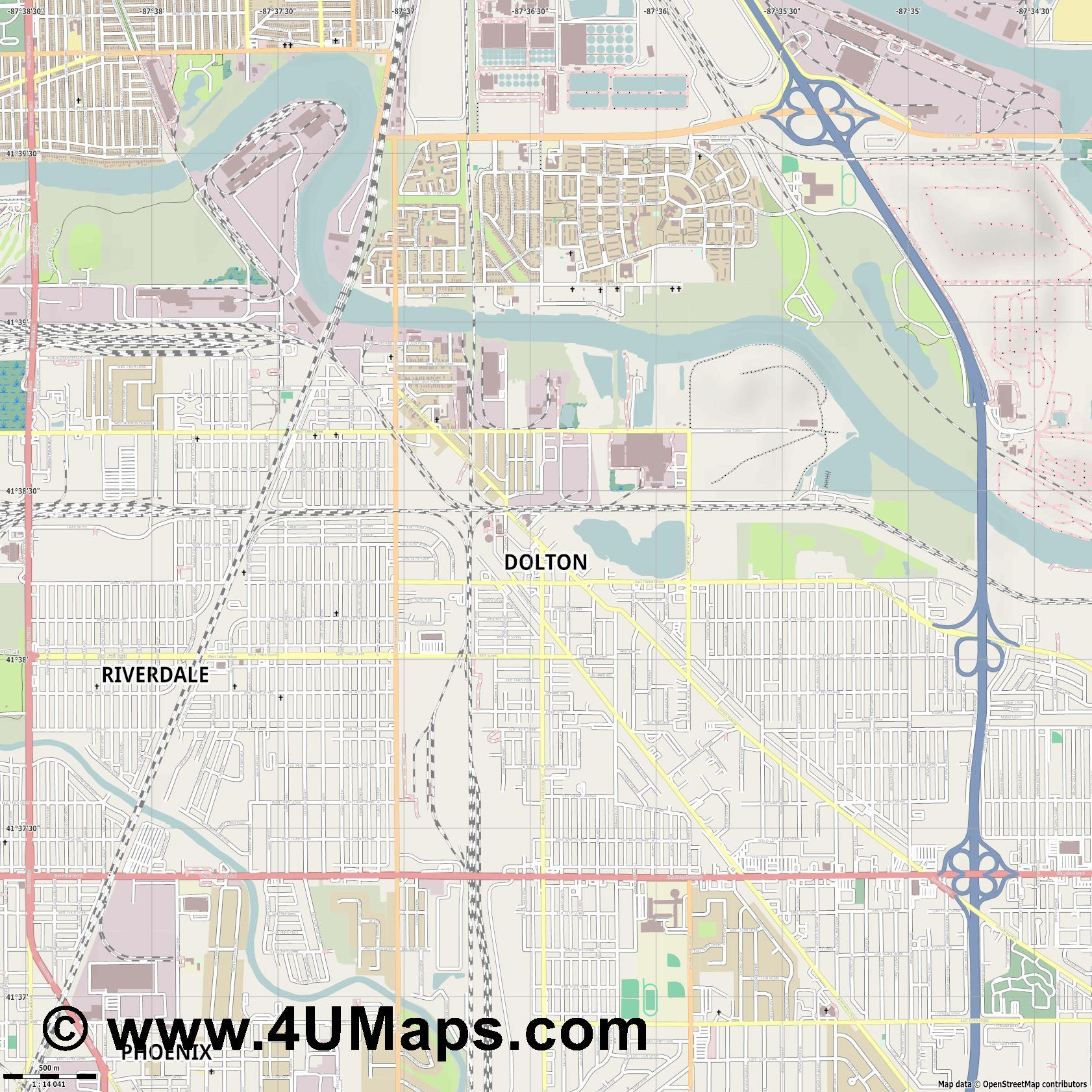 Dolton  jpg ultra high detail preview vector city map